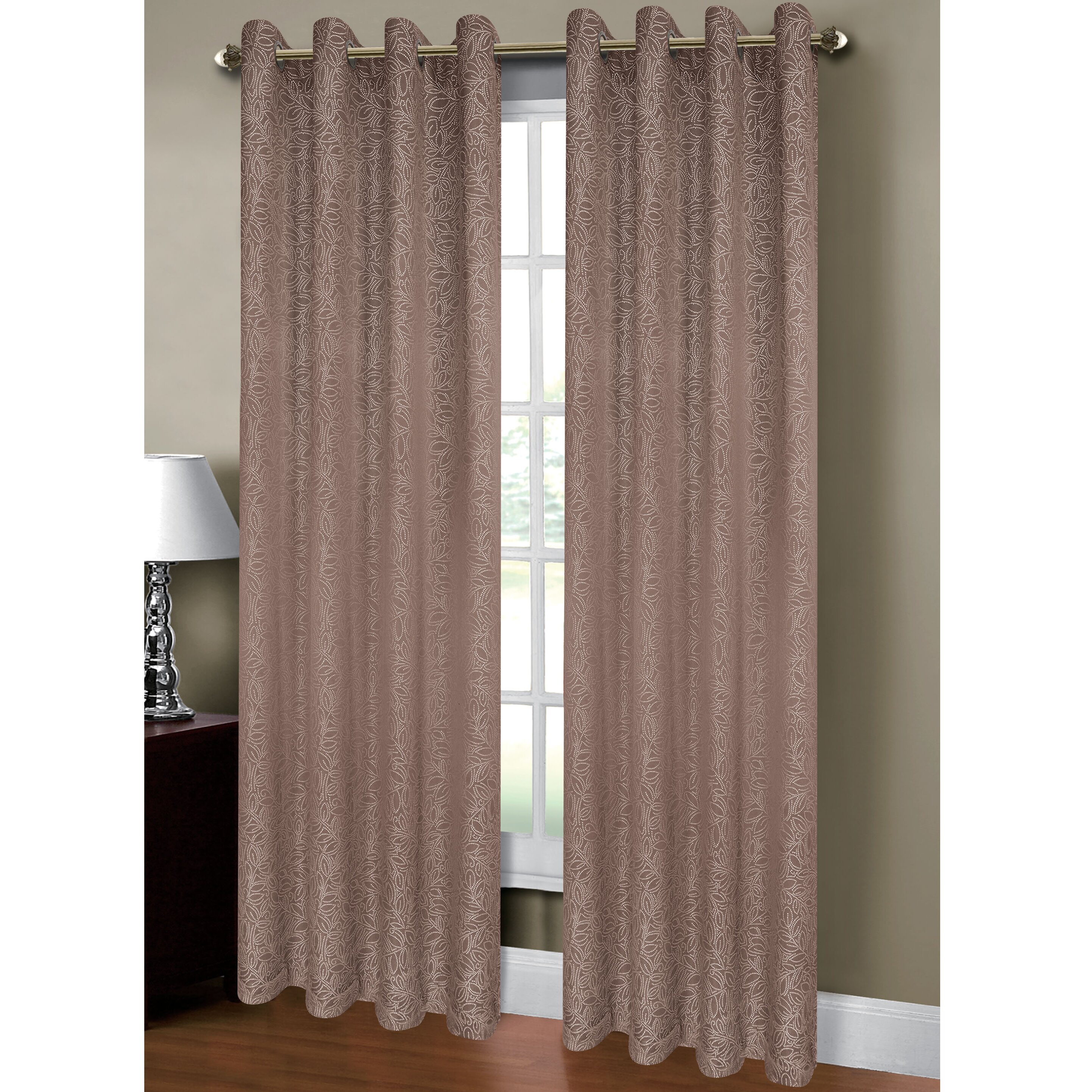 window elements leila jacquard extra wide grommet curtain