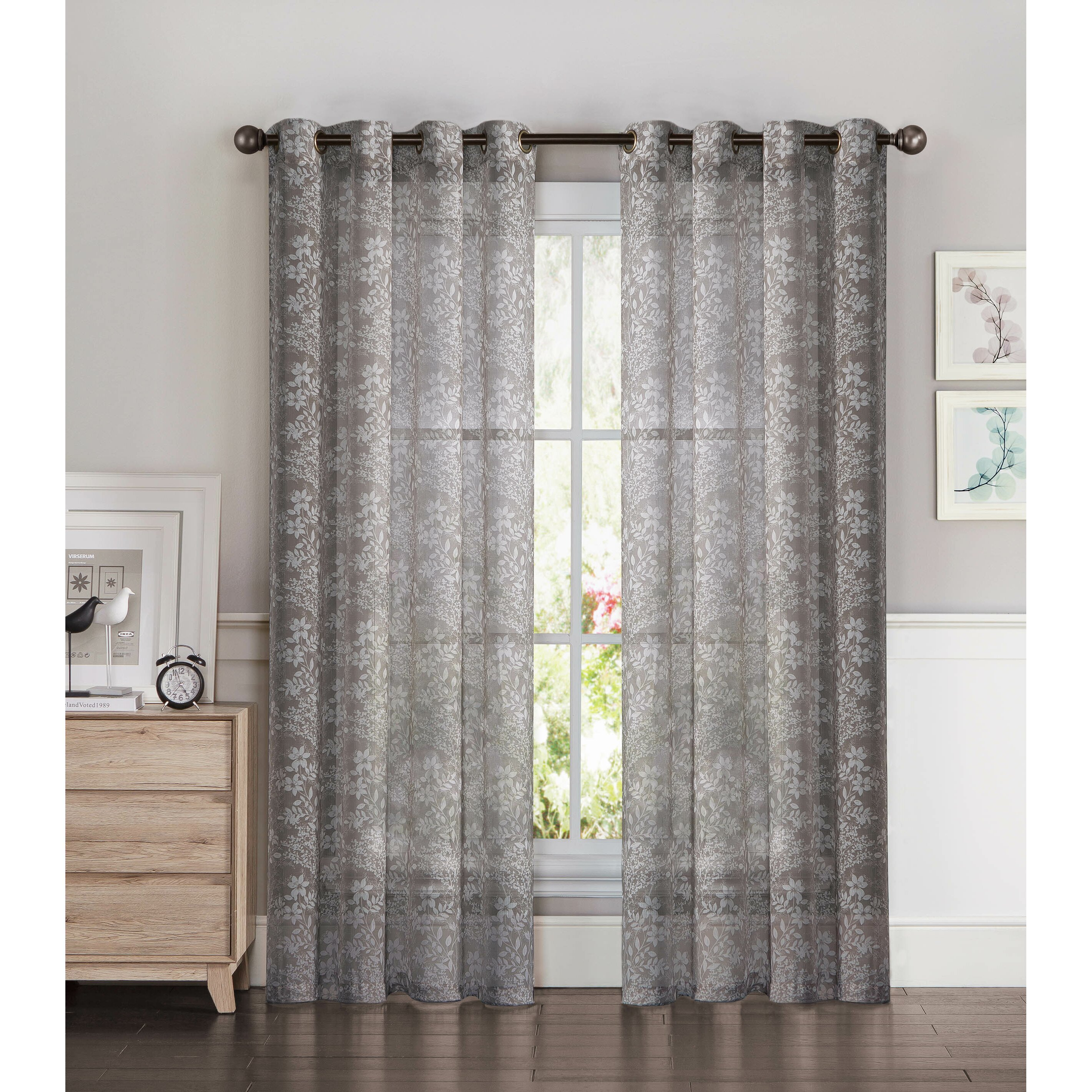 Window Elements Garden Semi Sheer Extra Wide Grommet Single Curtain Panel Reviews Wayfair