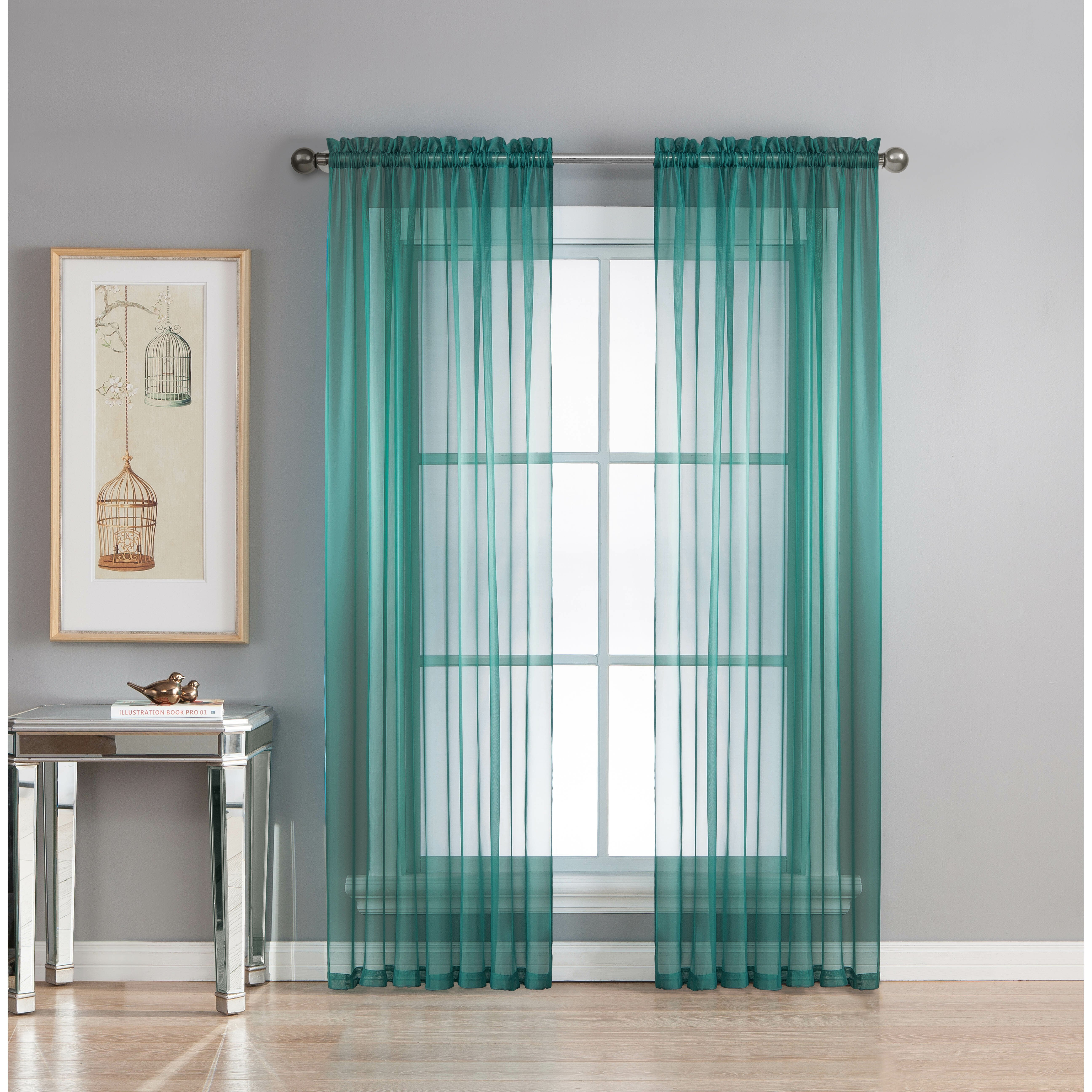 window elements diamond sheer voile extra wide rod pocket single curtain panel reviews. Black Bedroom Furniture Sets. Home Design Ideas