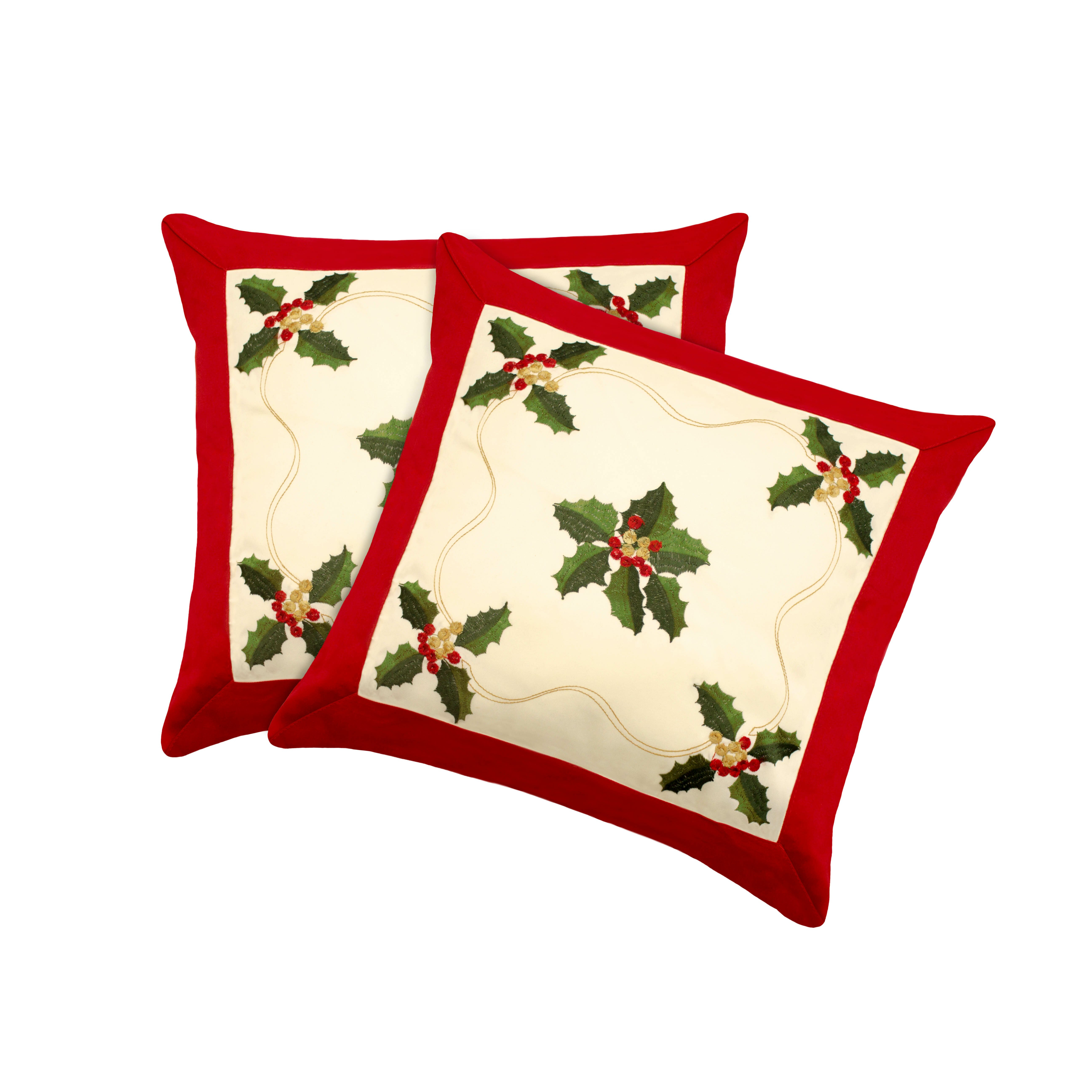 Window Elements Holiday Holly Embroidered Throw Pillow Cover & Reviews Wayfair