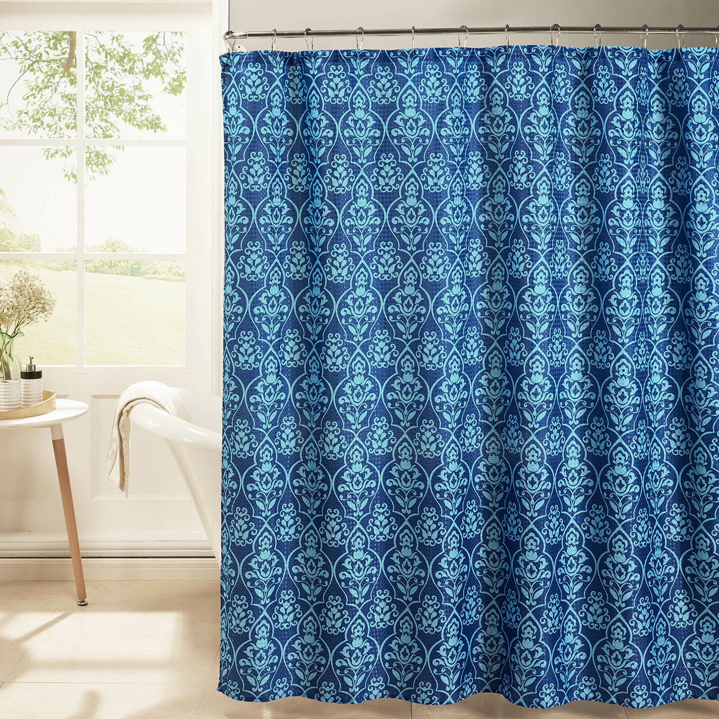 Bath Studio Oxford Weave Textured Shower Curtain Set