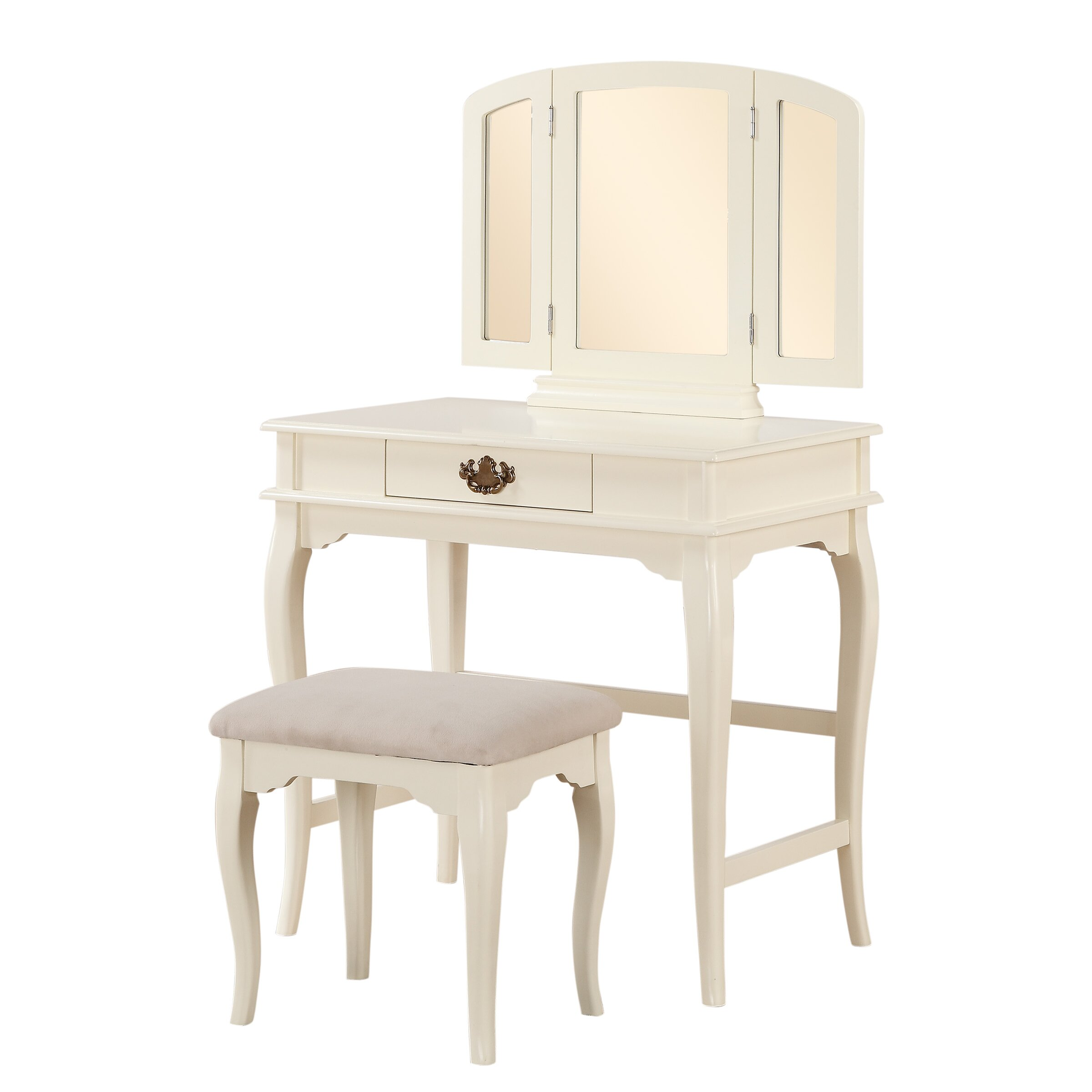 Three posts brownridge 1 drawer vanity set with mirror for Vanity set with mirror