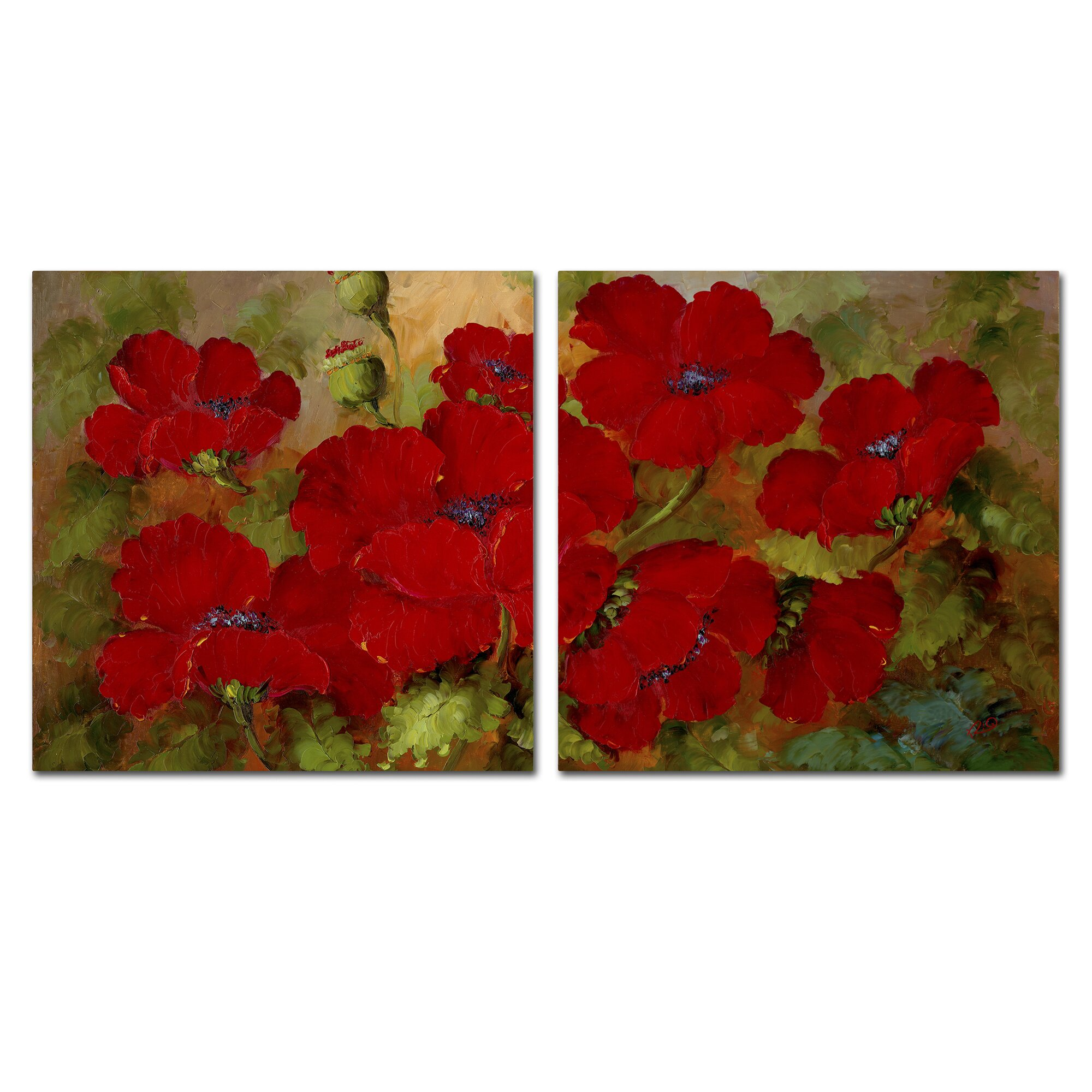Three posts poppies 2 piece painting print set reviews for Red wall art