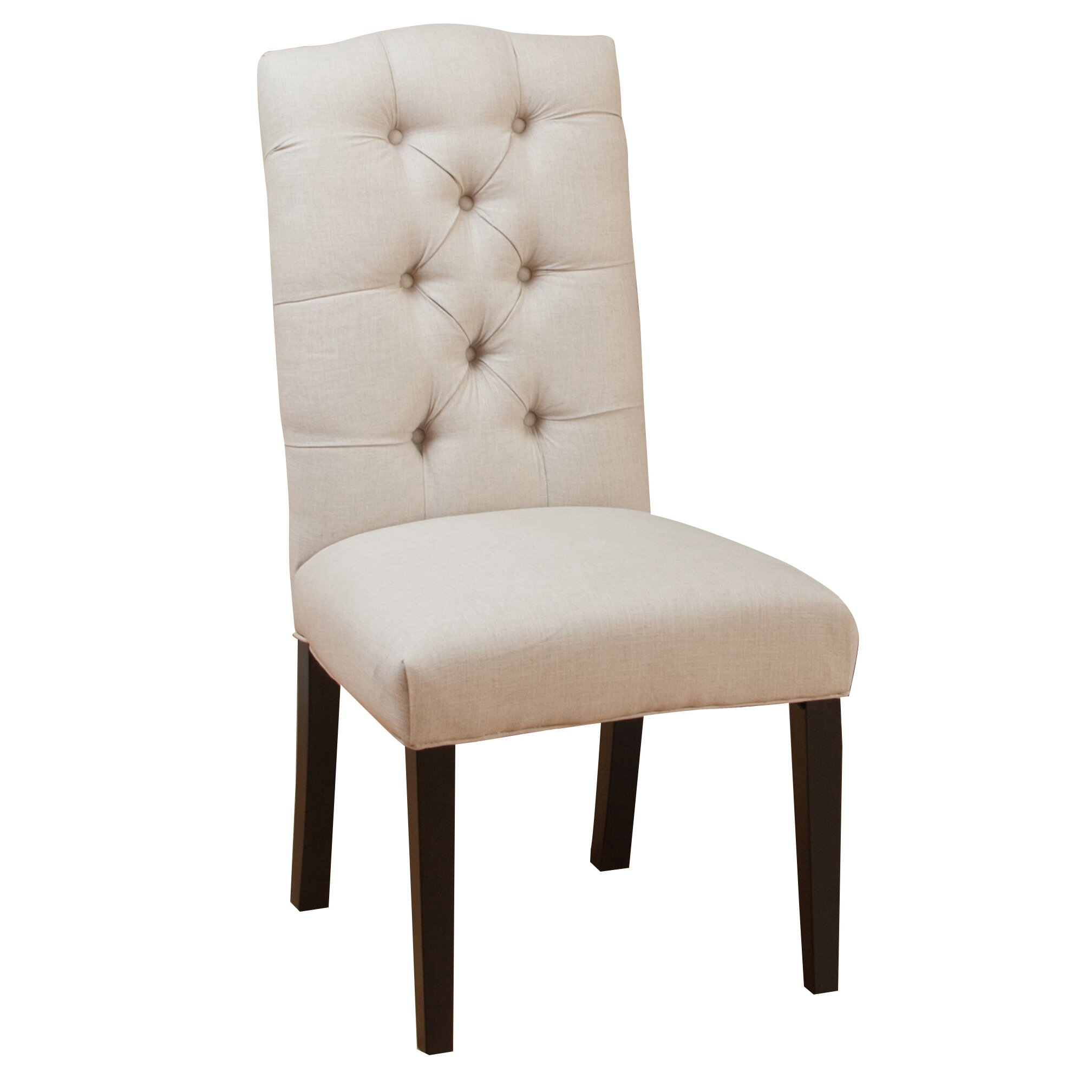 Three posts tufted linen side chairs reviews wayfair for Tufted dining chairs for sale