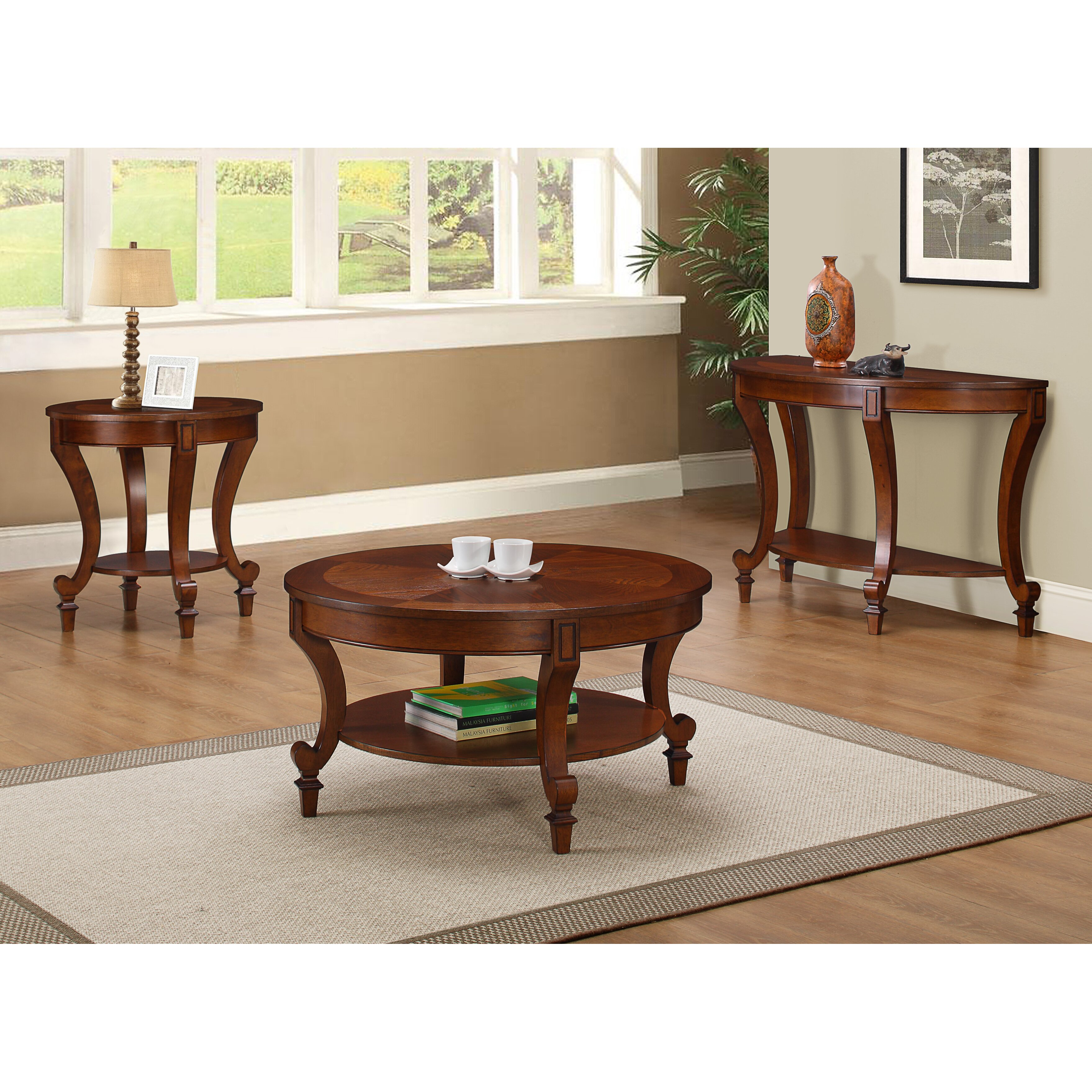 Three Posts Curved Brown Coffee Table Set & Reviews