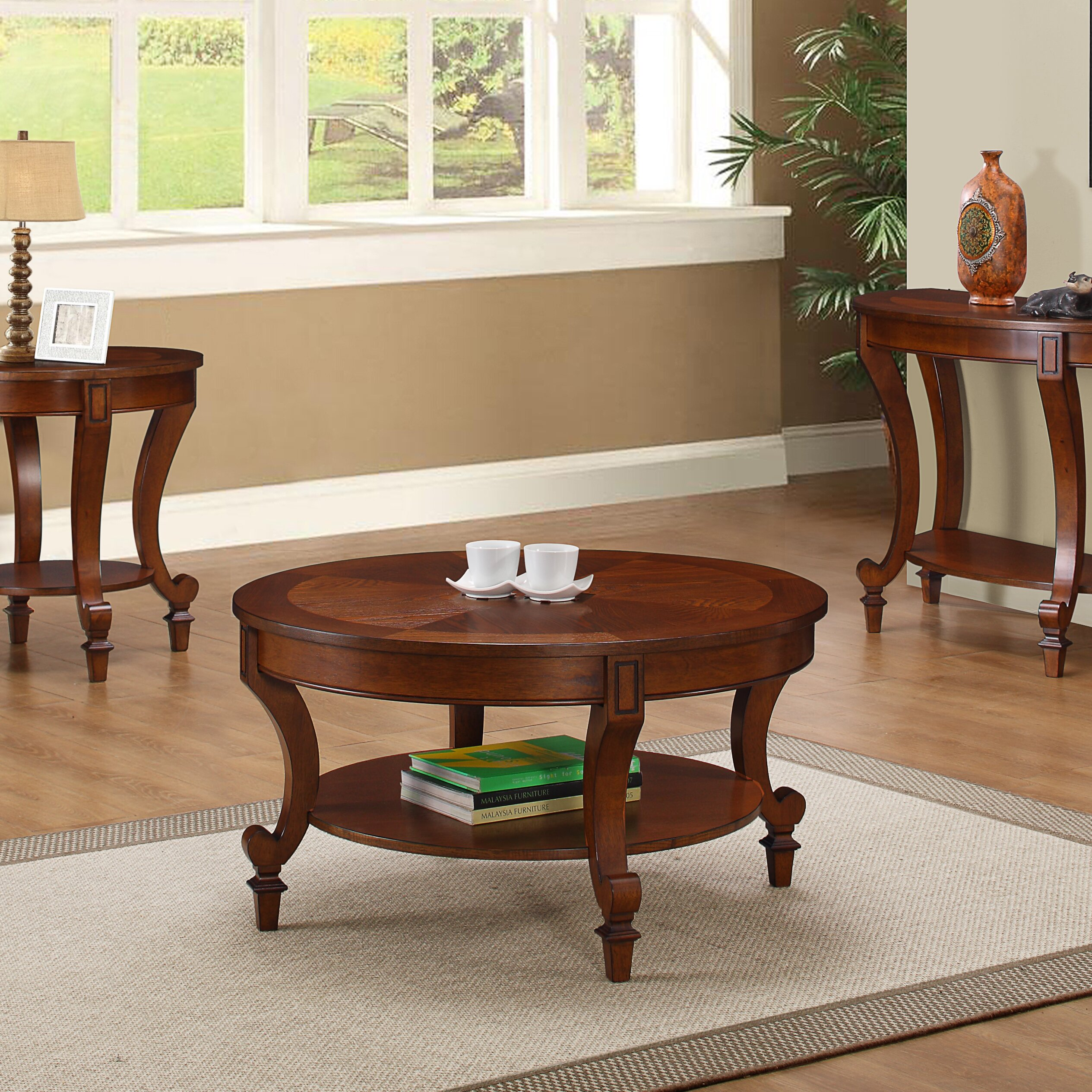 Three Posts Curved Brown Coffee Table Set Reviews Wayfair