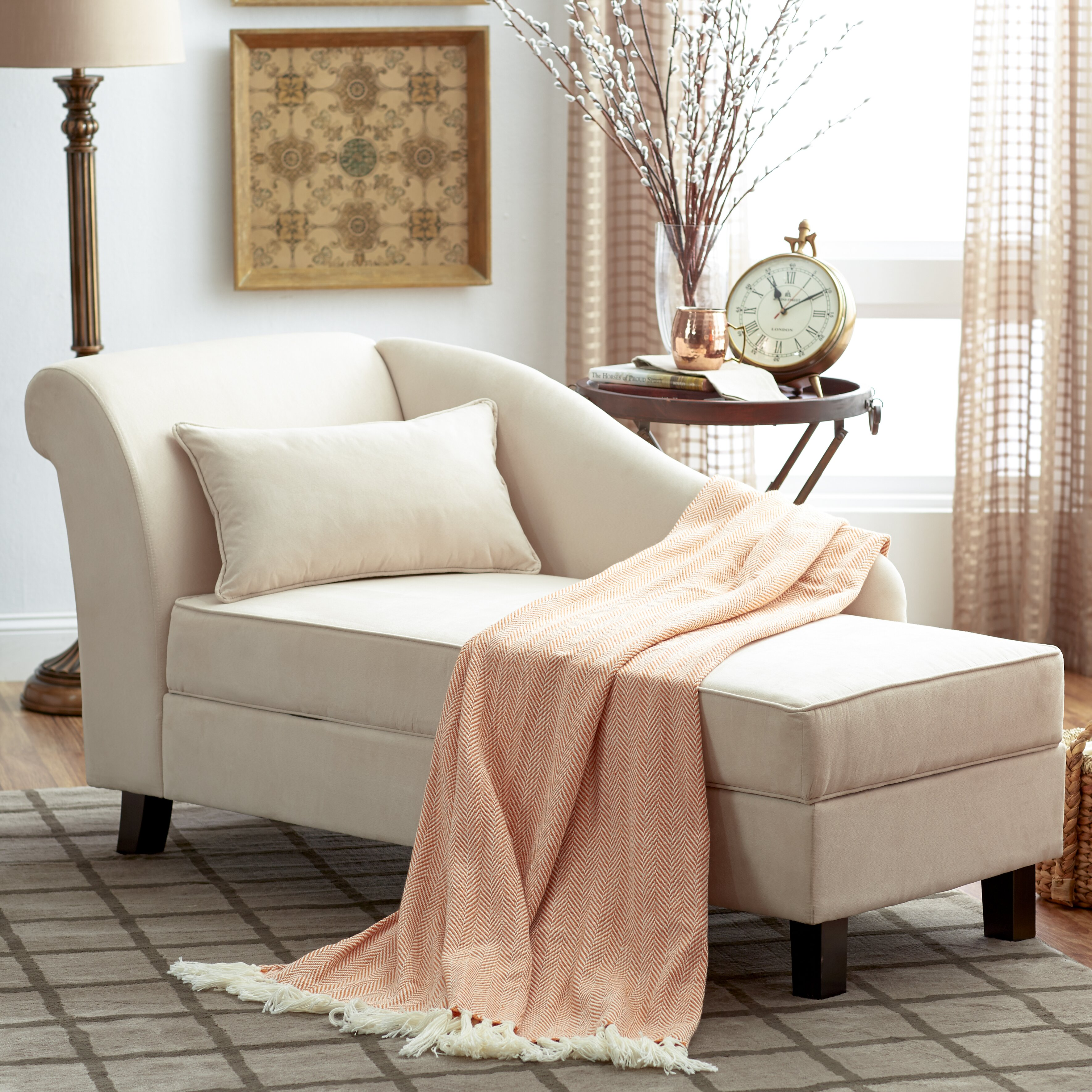 appealing living room chaise lounge | Three Posts Verona Storage Chaise Lounge & Reviews | Wayfair
