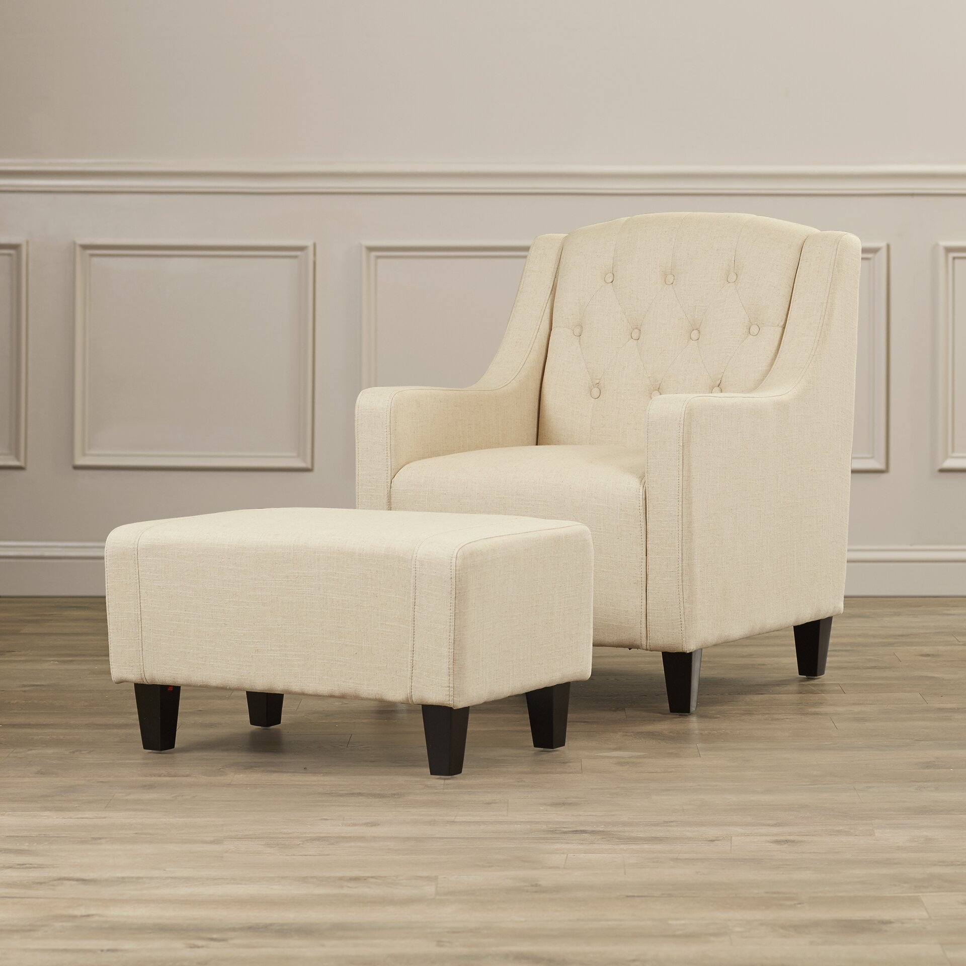Three Posts Simpson Upholstered Club Arm Chair With Ottoman Amp Reviews Wayfair