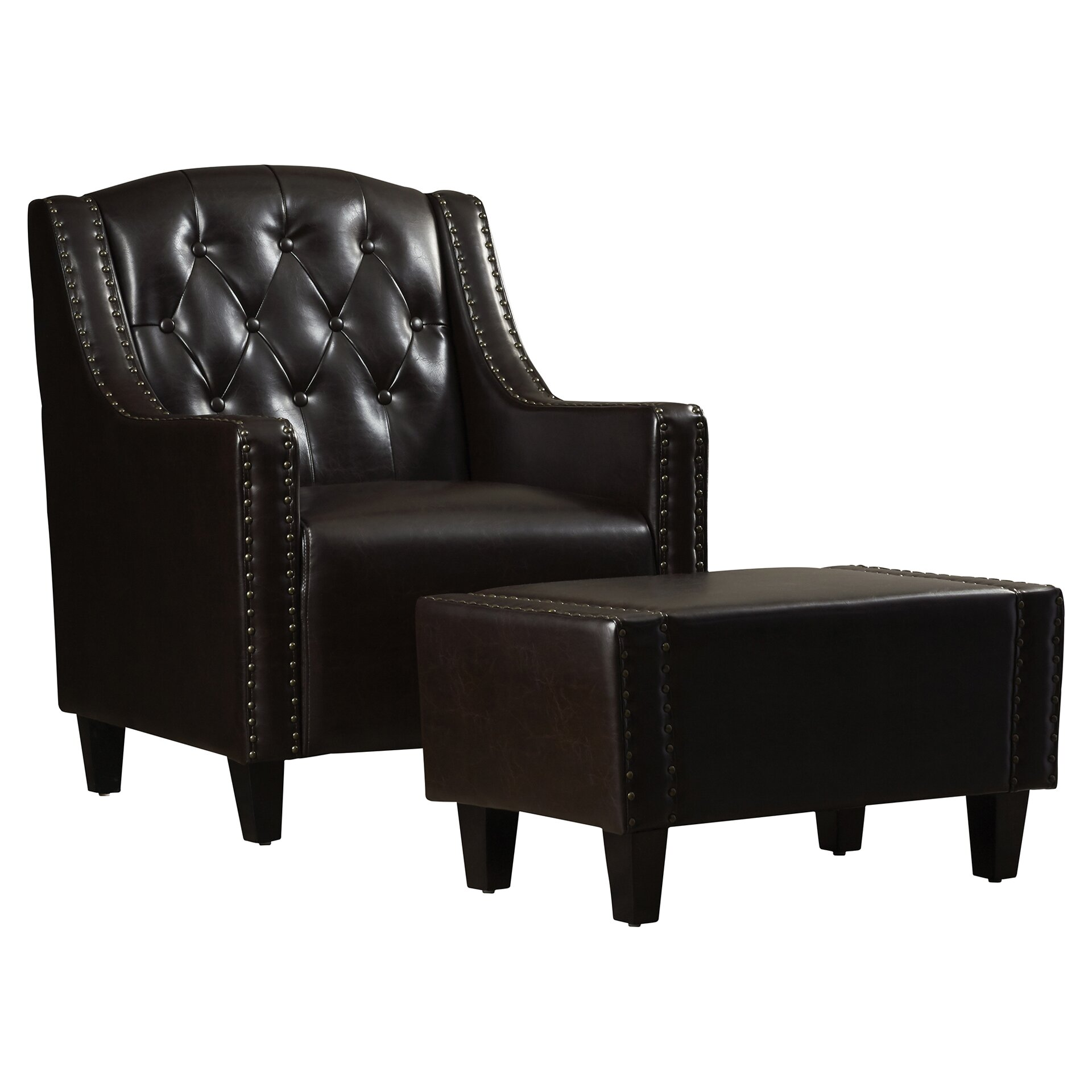 Leather Ottomans Set Of Three ~ Three posts chris leather club chair and ottoman set