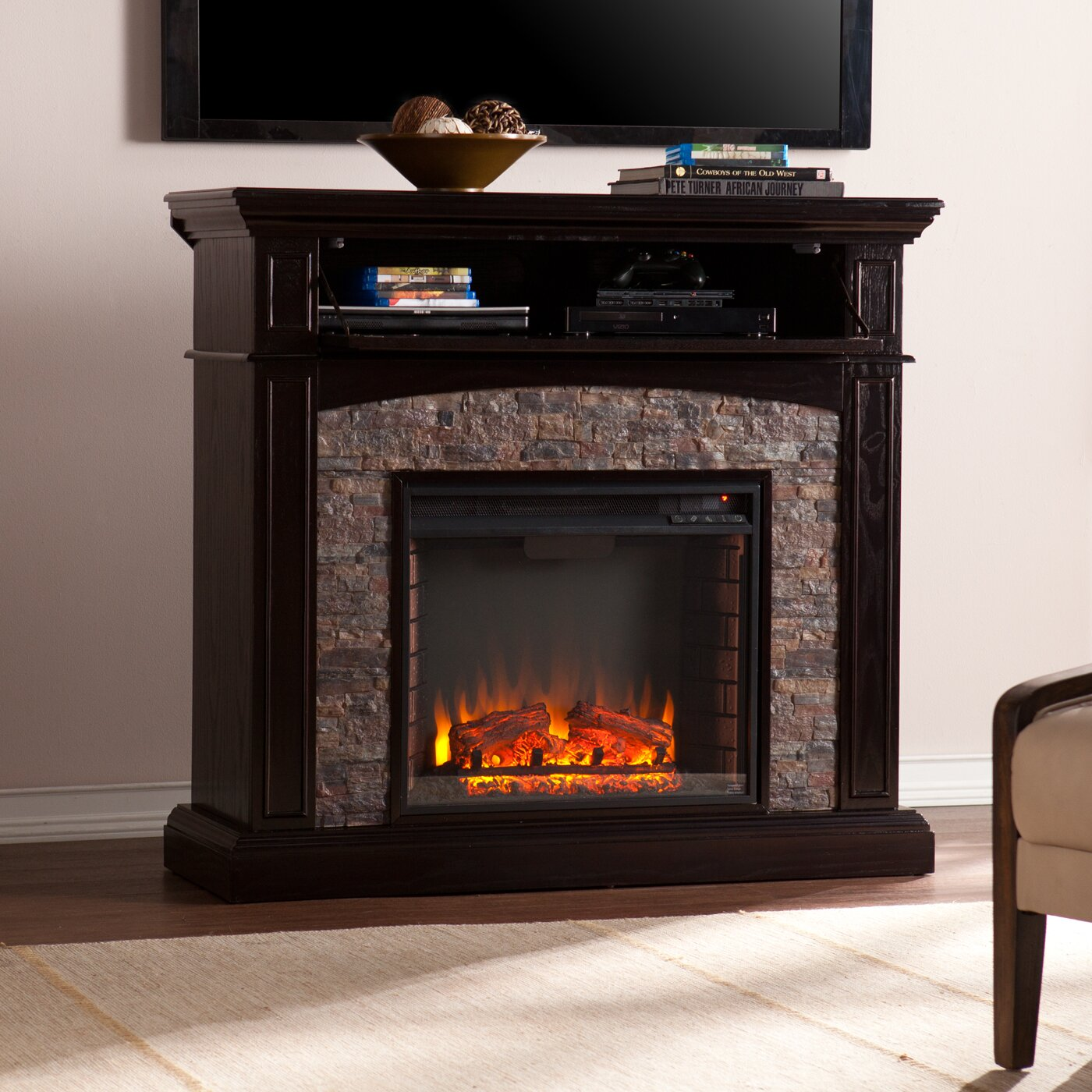 Three Posts Yvonne Faux Stone Corner Electric Fireplace