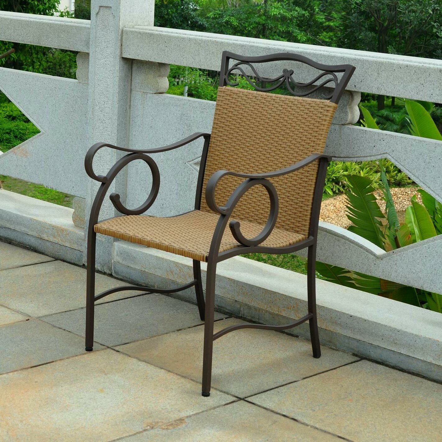 Three Posts Meetinghouse Wicker Resin Patio Chair