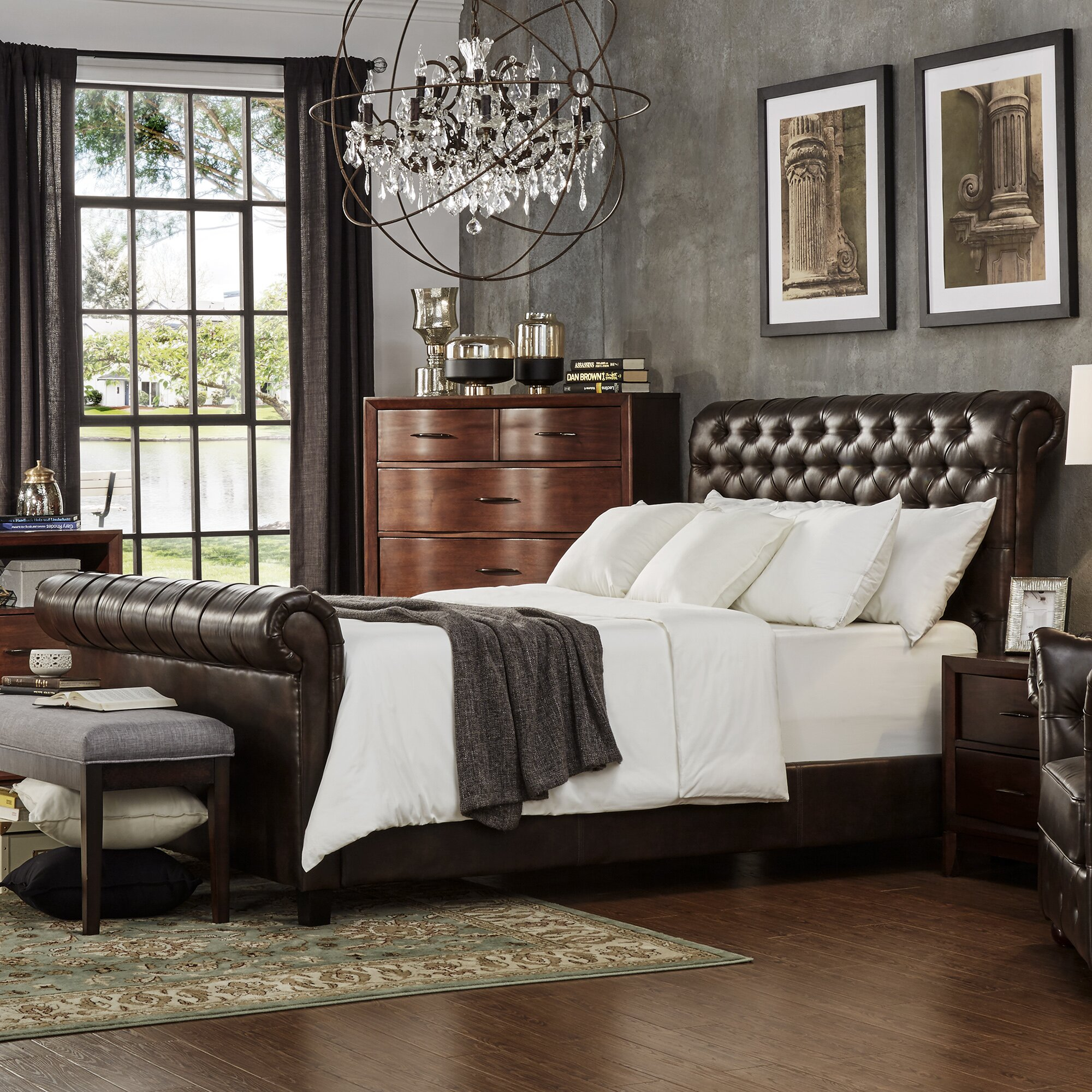 three posts carthusia king upholstered sleigh bed wayfair. Black Bedroom Furniture Sets. Home Design Ideas
