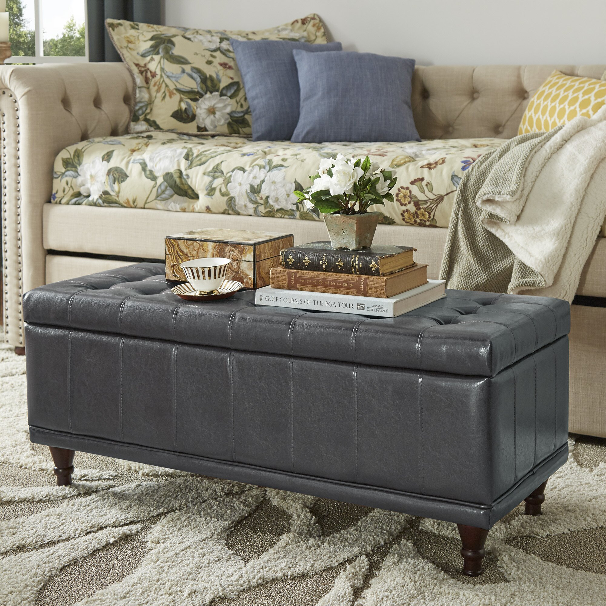 Three Posts Polycarp Storage Ottoman Reviews: Three Posts Southampton Leather Storage Bedroom Bench
