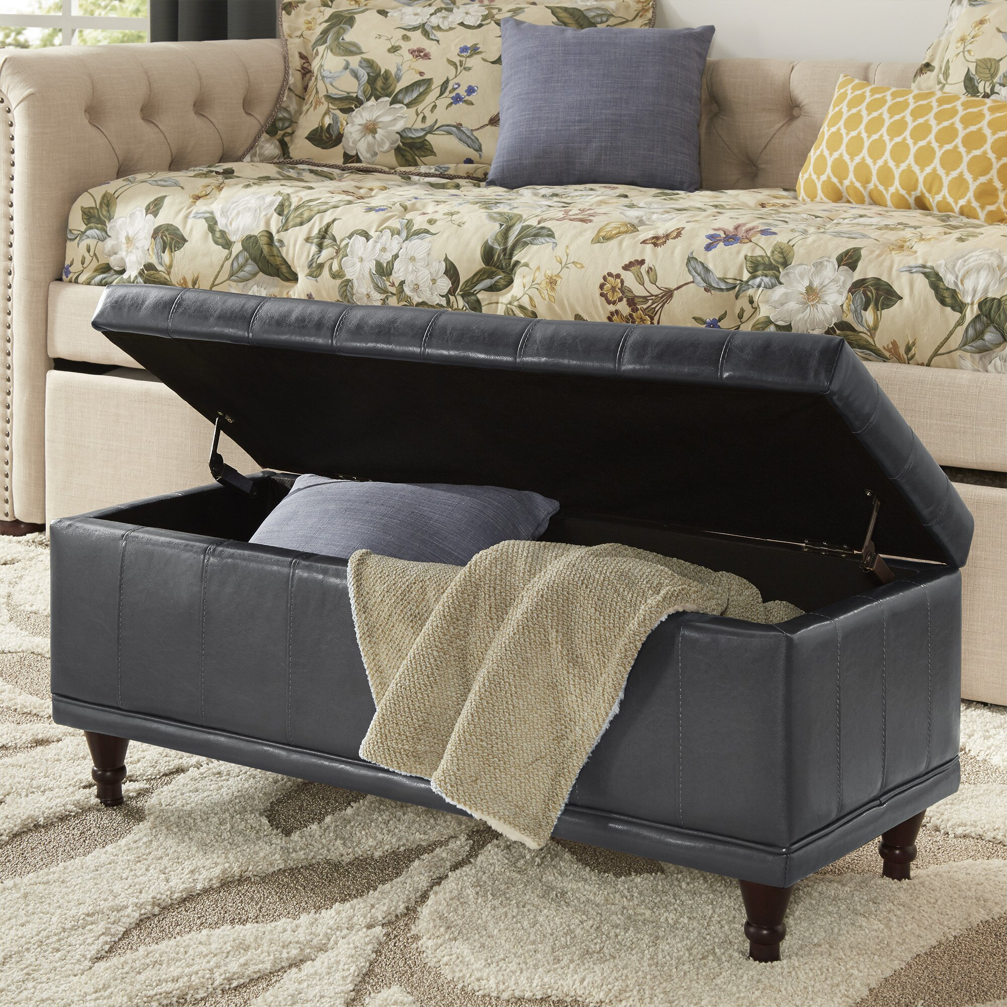 Three Posts Southampton Leather Storage Bedroom Bench Reviews Wayfair