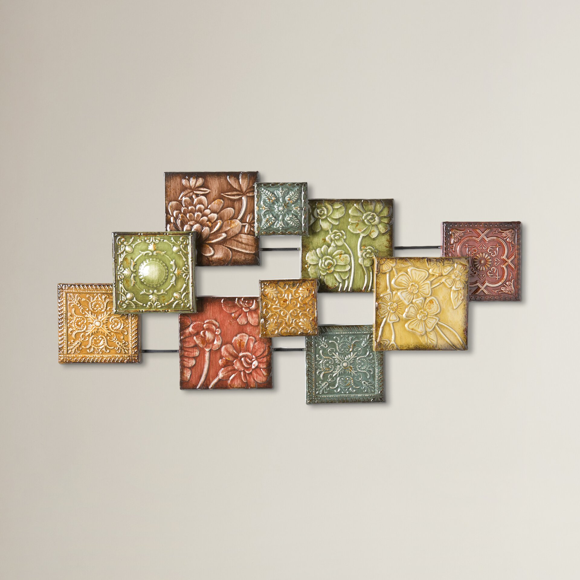 Three posts bijou square panel wall d cor reviews wayfair for 3 panel wall art