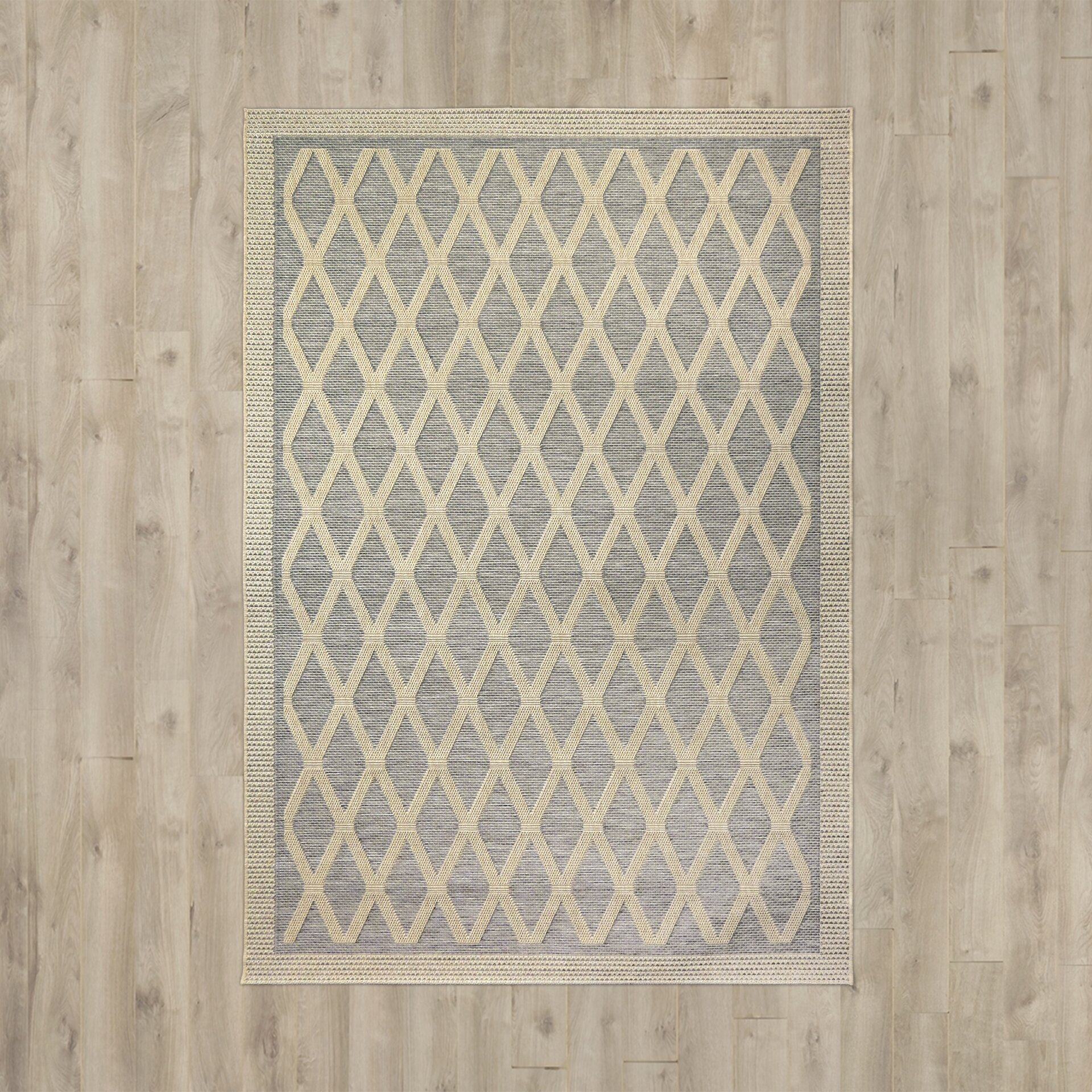 Three posts acton gray tan indoor outdoor area rug for Grey and tan rug
