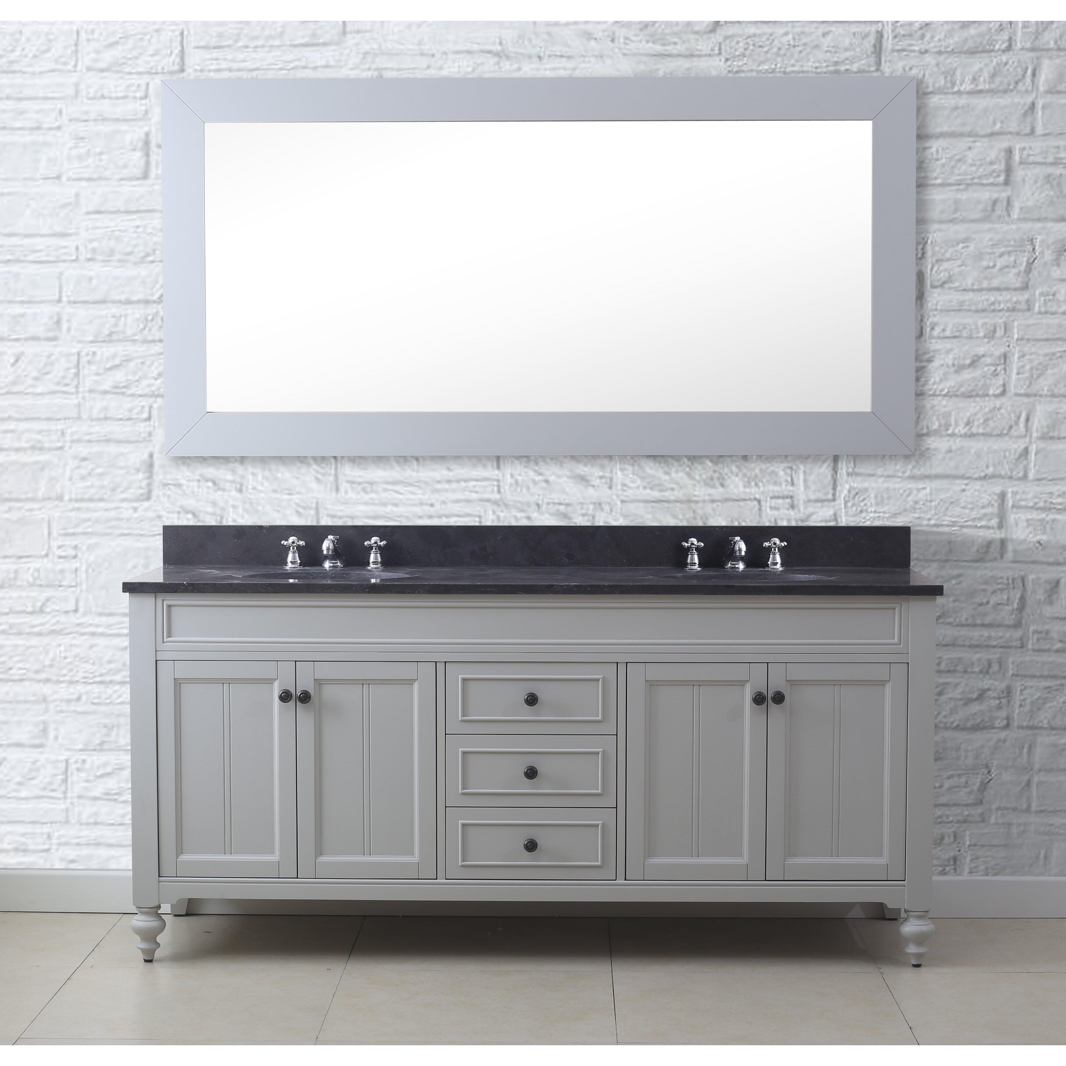 "Three Posts Latimer 72"" Double Sink Bathroom Vanity Set with Mirror and"