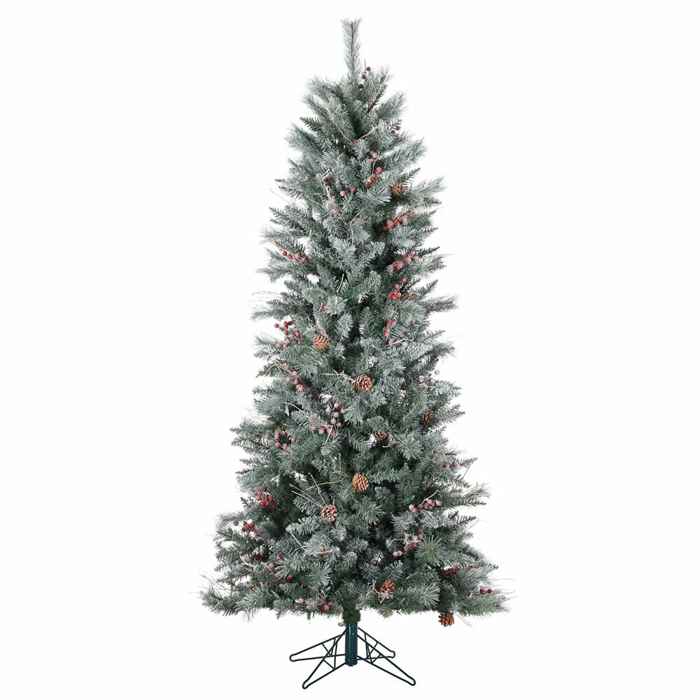 Three posts frosted berry pine christmas tree with