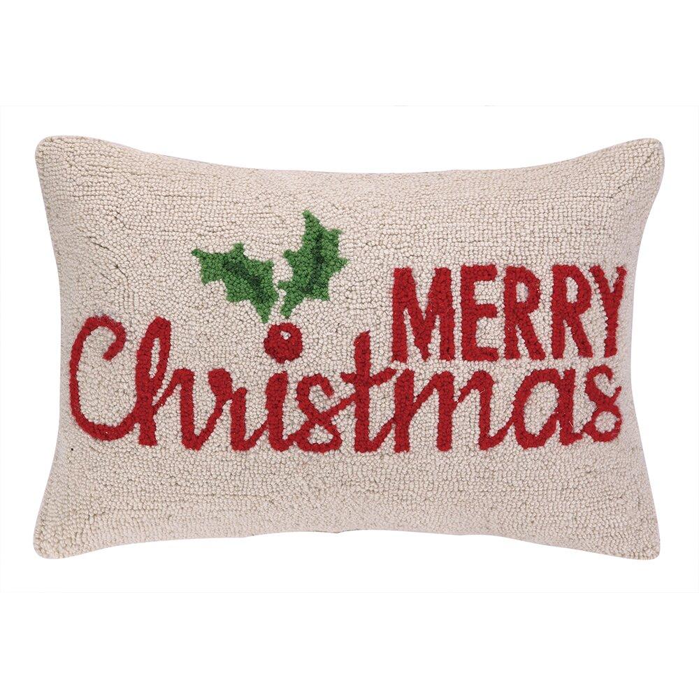 Three Posts Merry Christmas Holly Hook Wool Lumbar Pillow ...