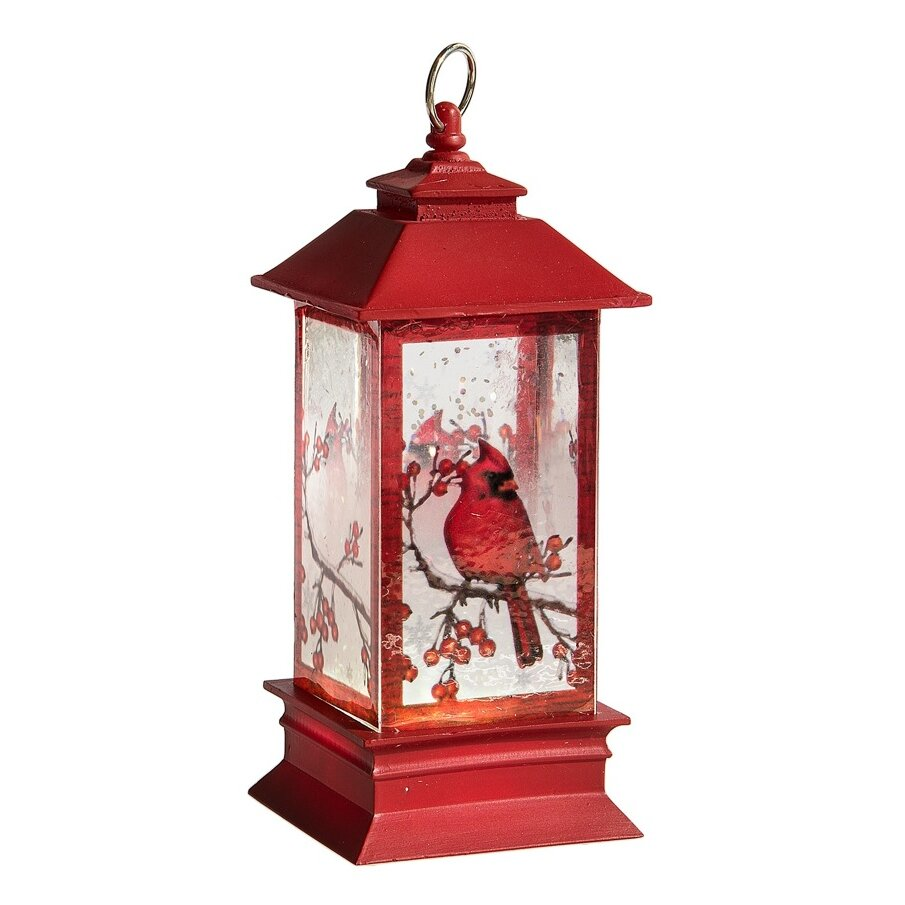 Three Posts Led Lantern With Cardinal Mini Shimmer