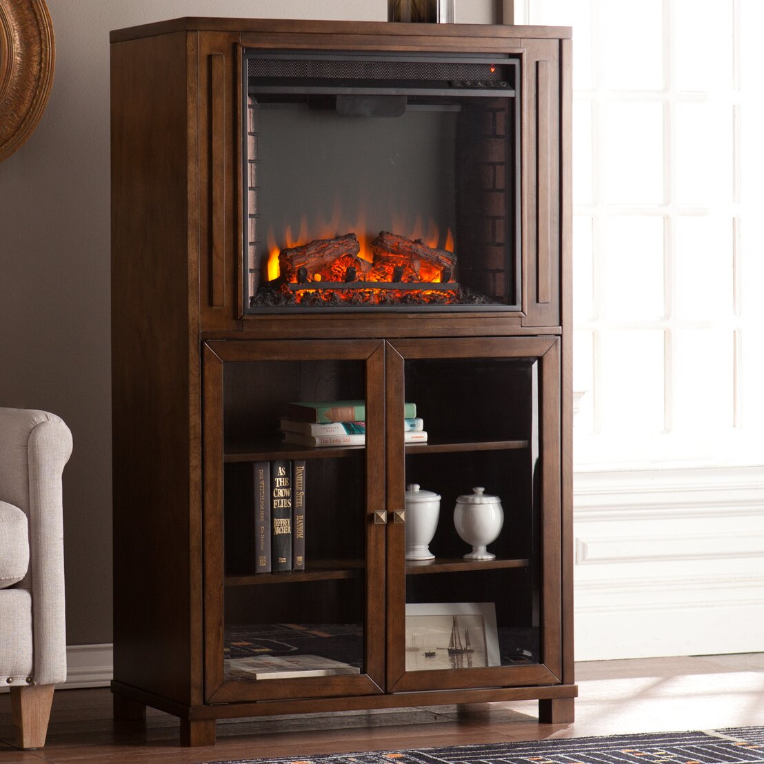 Three Posts Young Storage Tower Electric Fireplace