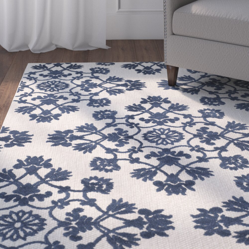 Three posts light gray royal blue indoor outdoor area rug for Blue indoor outdoor rug