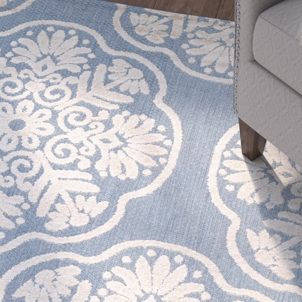 Three posts light blue beige indoor outdoor area rug for Blue indoor outdoor rug