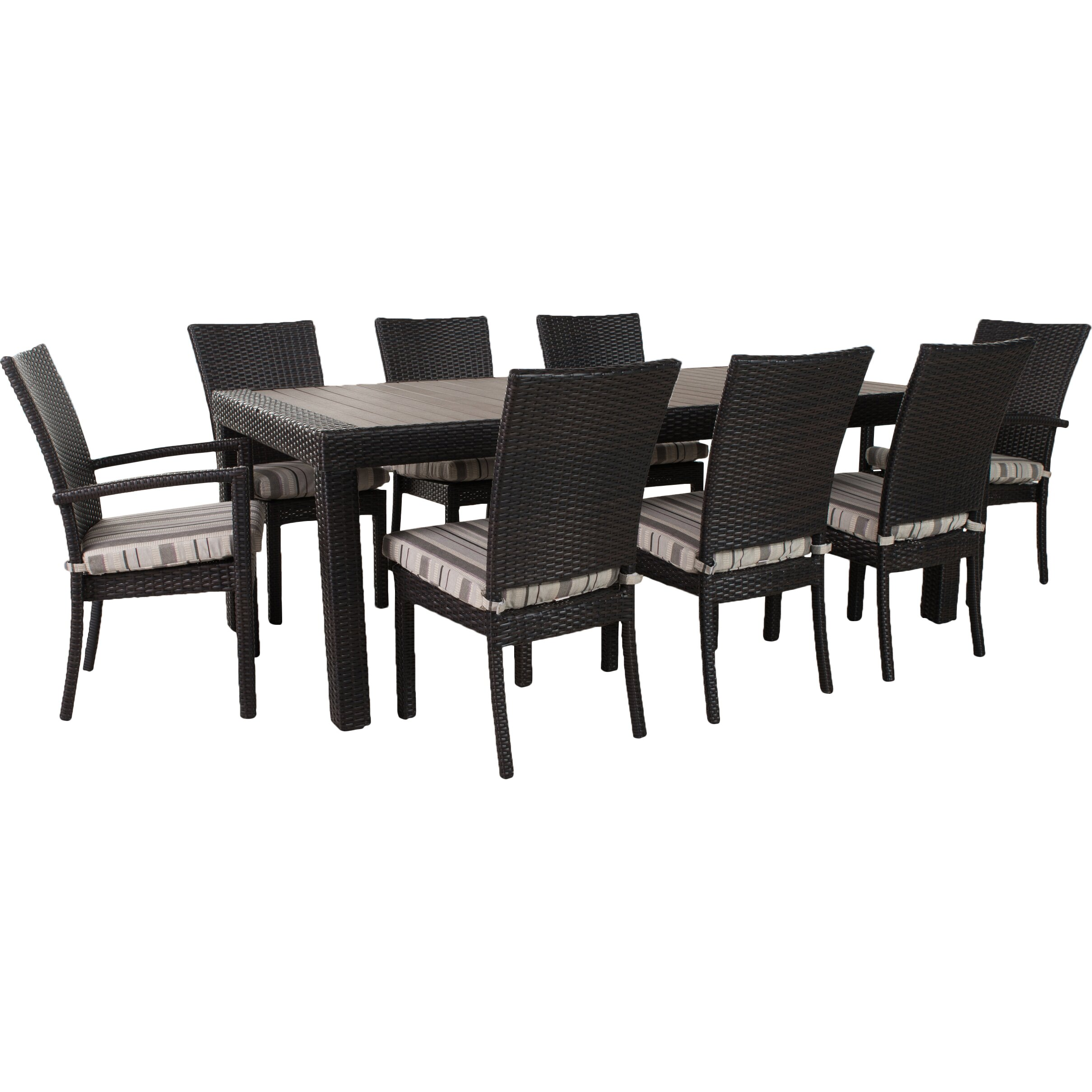 three posts evansville 9 piece outdoor dining set with cushions