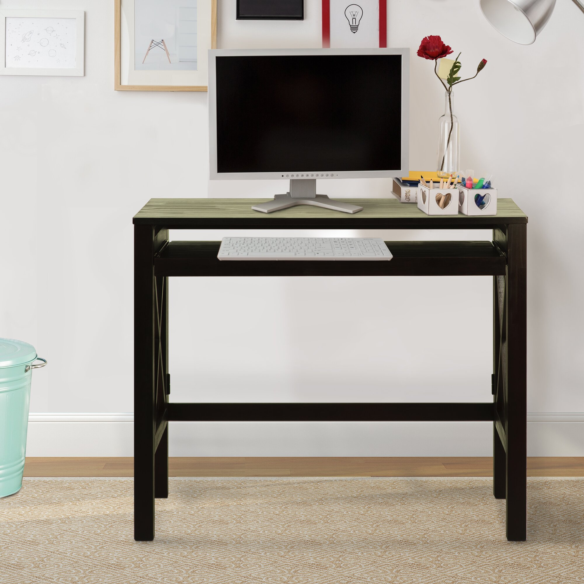 Three Posts Northumberland Computer Desk With Pull Out