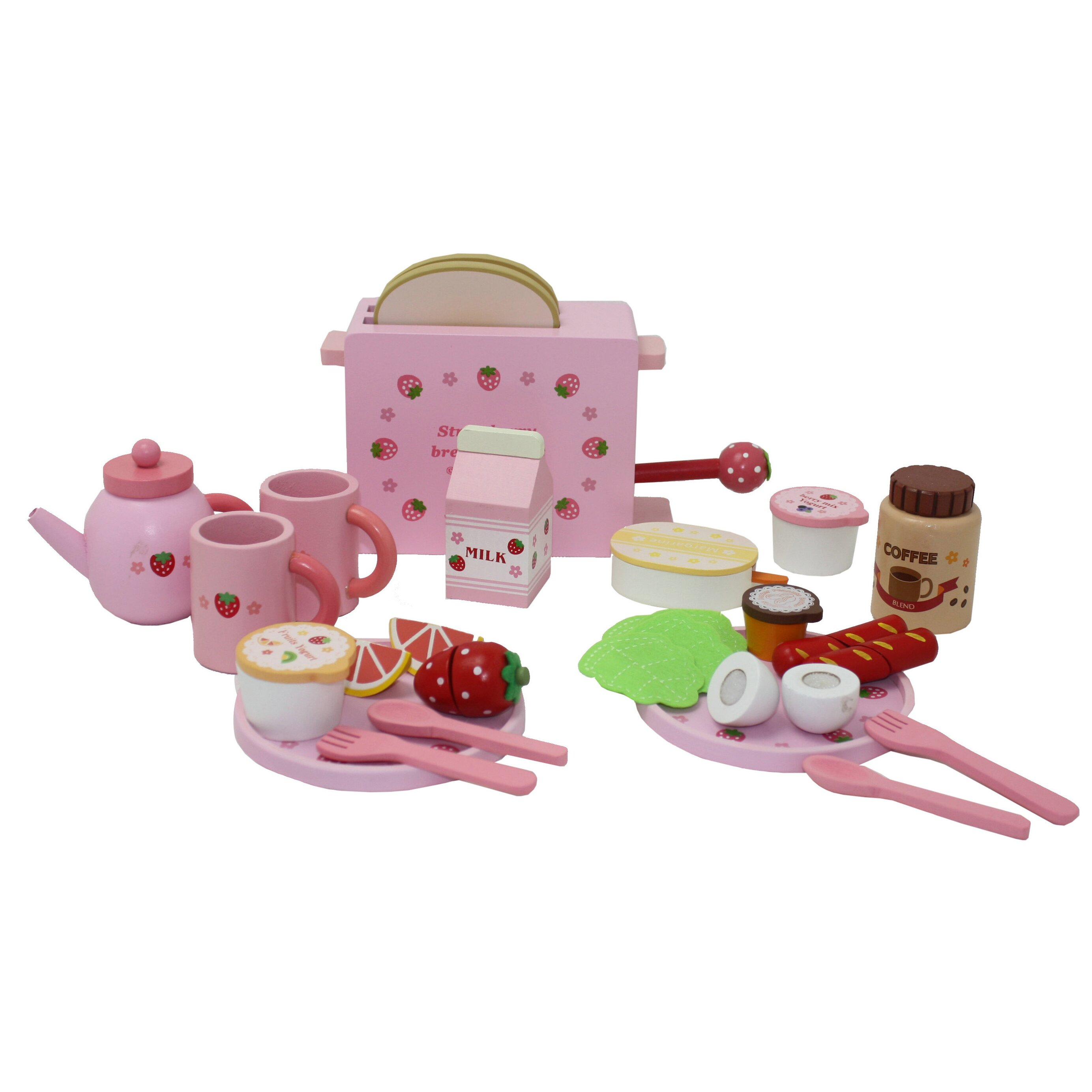 Play Food Set Toys : Berry toys piece complete healthy breakfast wooden play