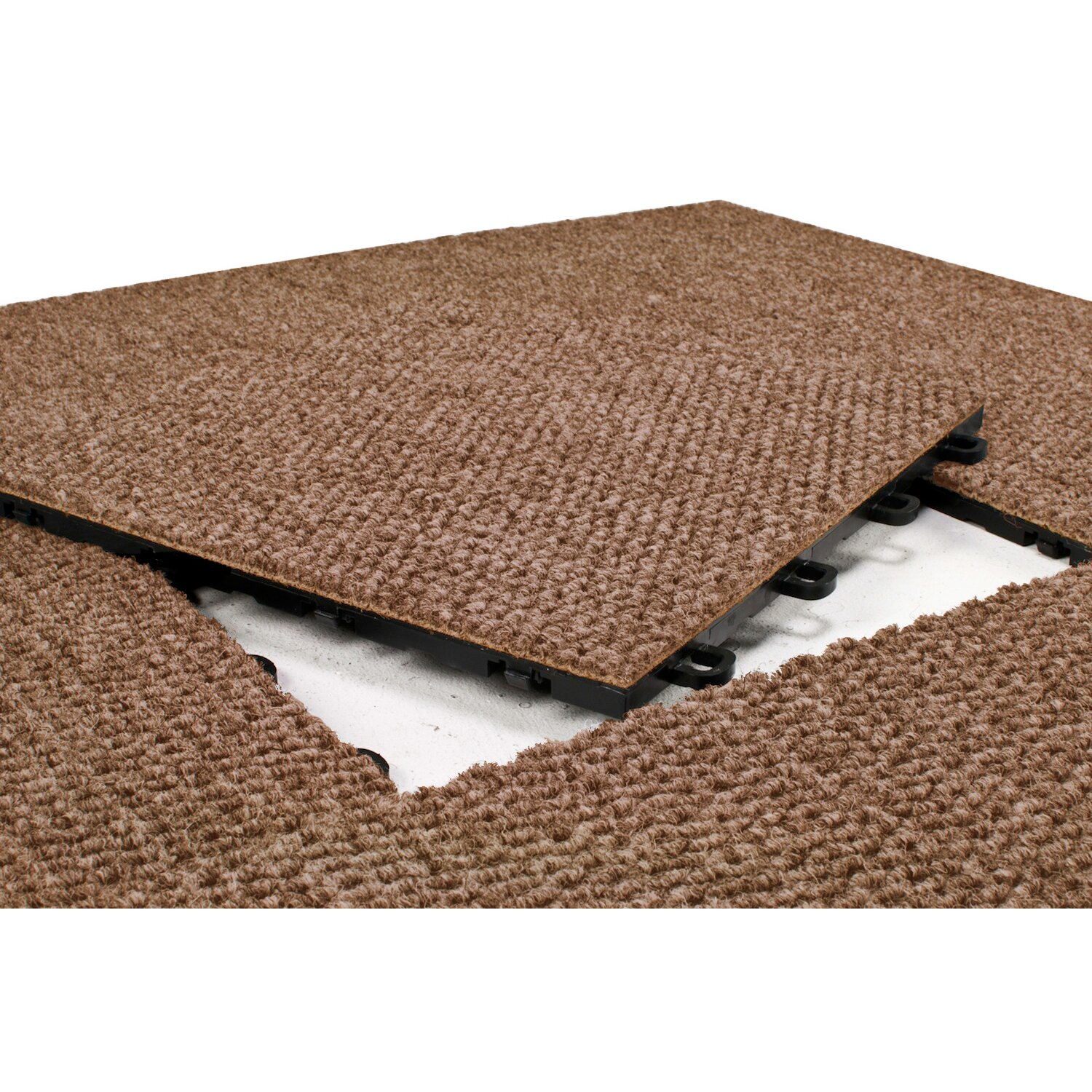 "How To Carpet A Basement Floor: BlockTile 12"" X 12"" Premium Interlocking Basement Floor Carpet Tile In Brown & Reviews"