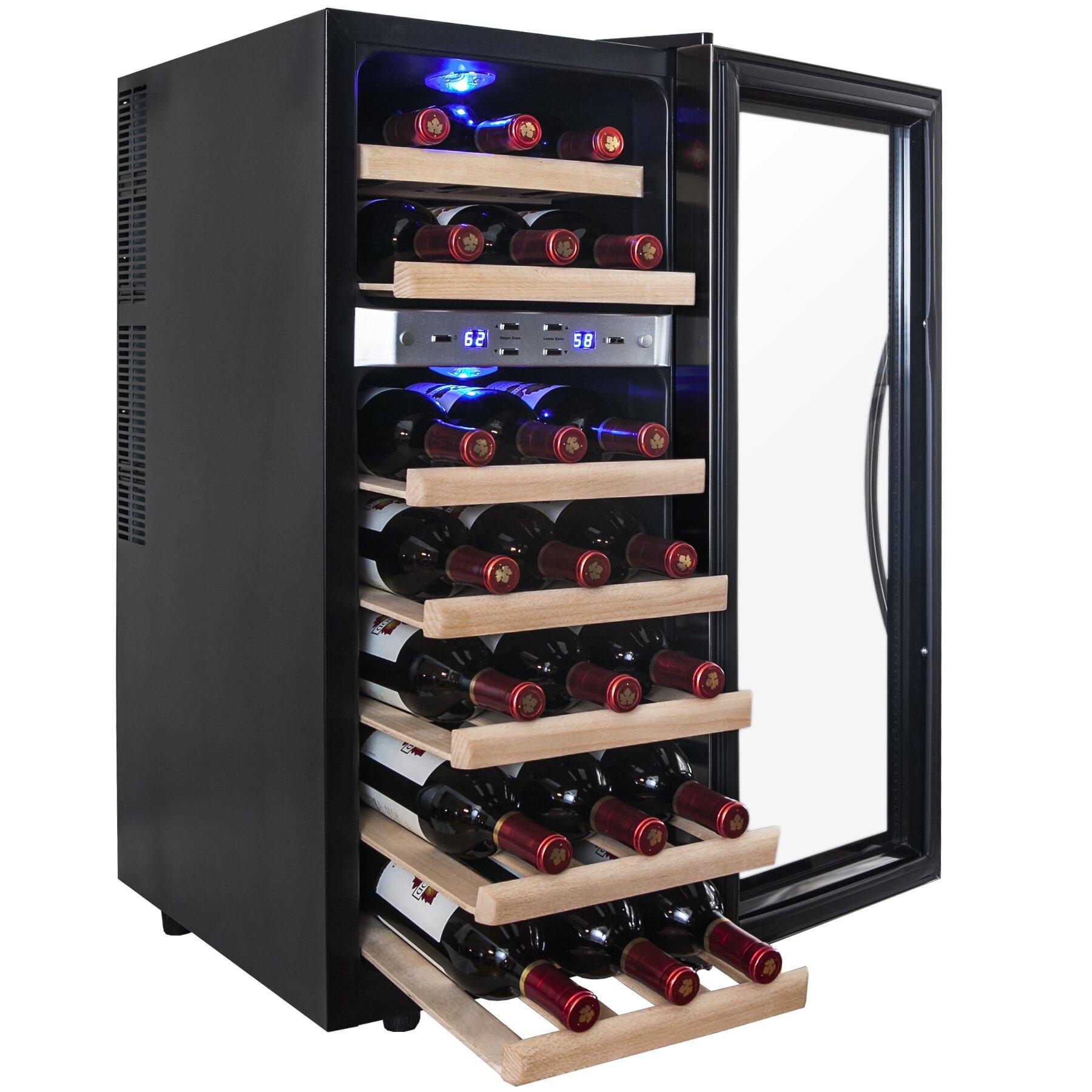 akdy 21 bottle dual zone freestanding wine refrigerator reviews wayfair. Black Bedroom Furniture Sets. Home Design Ideas