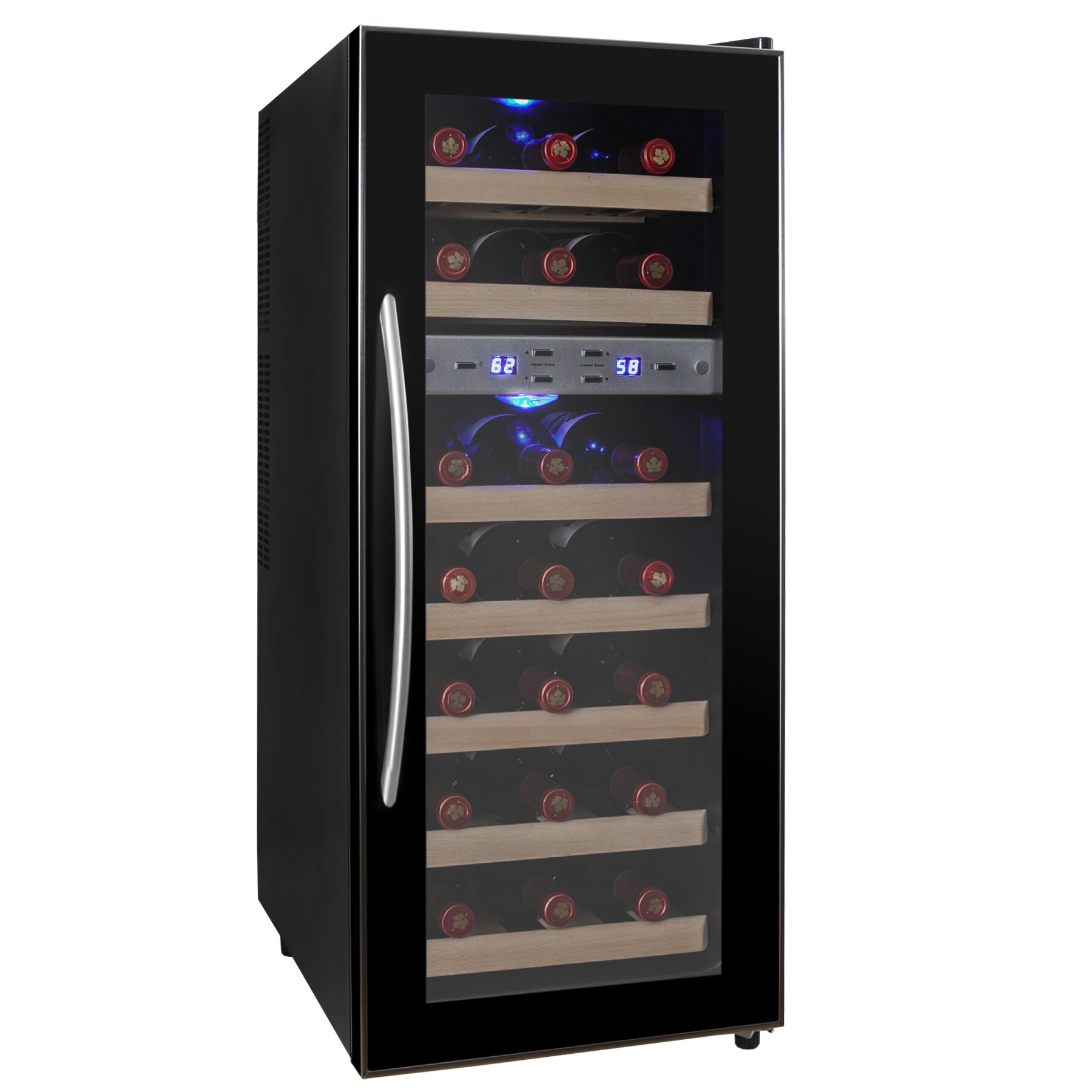 Akdy 21 Bottle Dual Zone Freestanding Wine Refrigerator