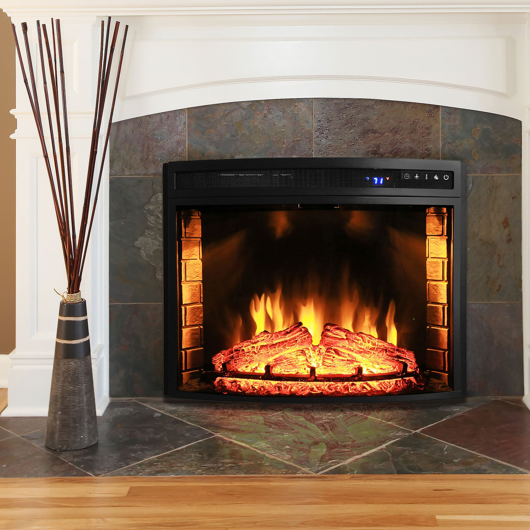 AKDY Curved Wall Mount Electric Fireplace Insert & Reviews