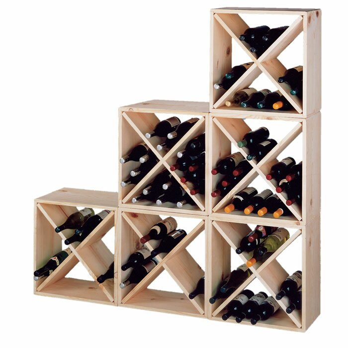 Wine cellar country pine cube 24 bottle floor wine rack reviews wayfair - Small space wine racks design ...