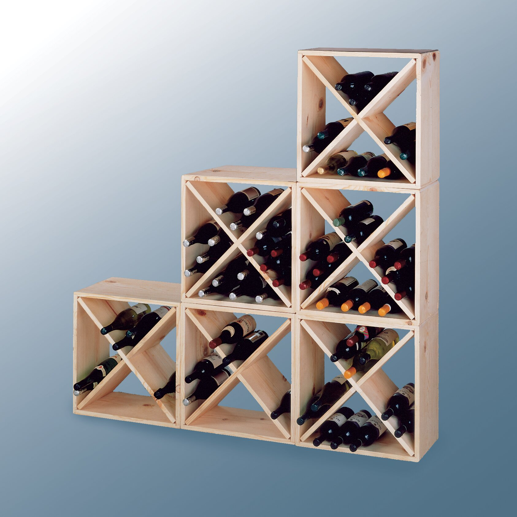 Wine cellar country pine cube 24 bottle floor wine rack for Floor wine rack