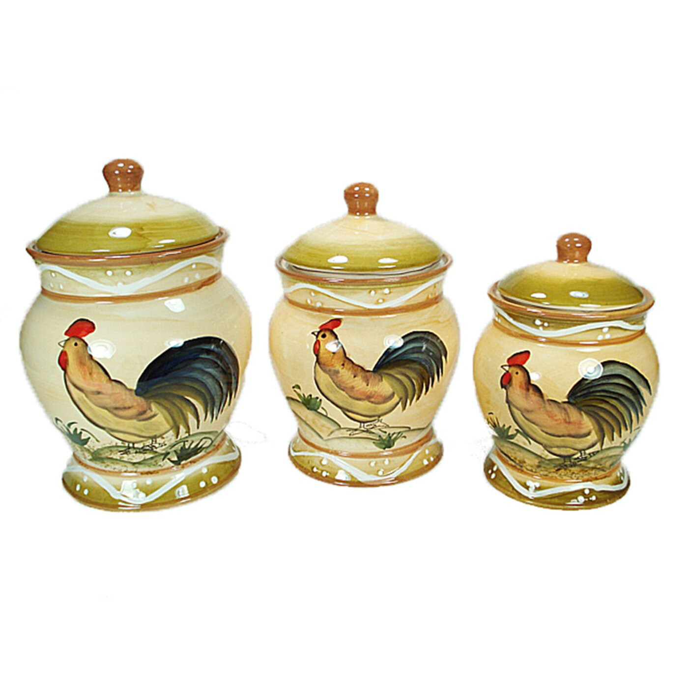 Kitchen Canisters Ceramic Sets: D'lusso Designs 3 Piece Ceramic Rooster Canister Set