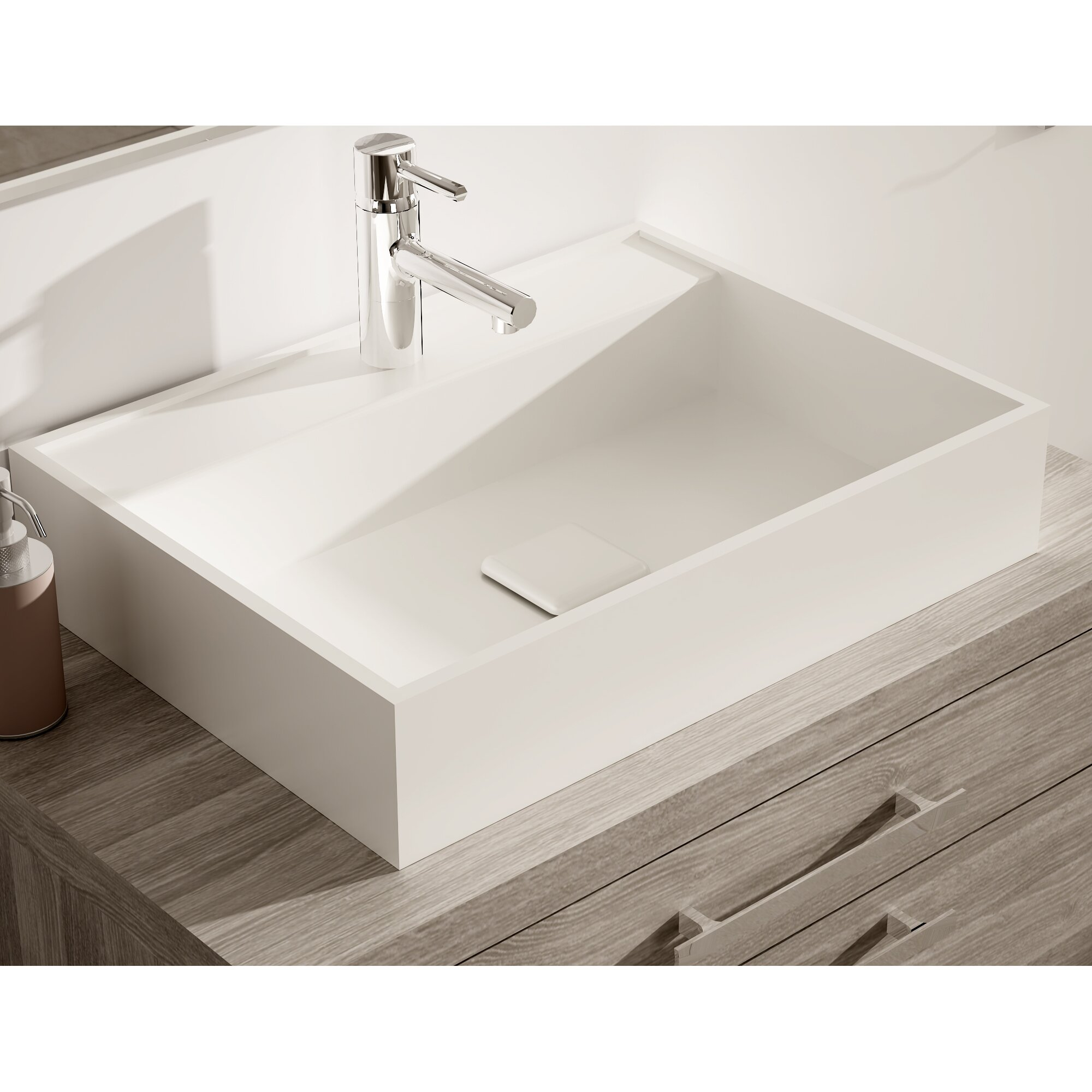 "Solid Surface Bathroom Sink: Hispania Home Montreal 24"" Single Solid Surface Sink"