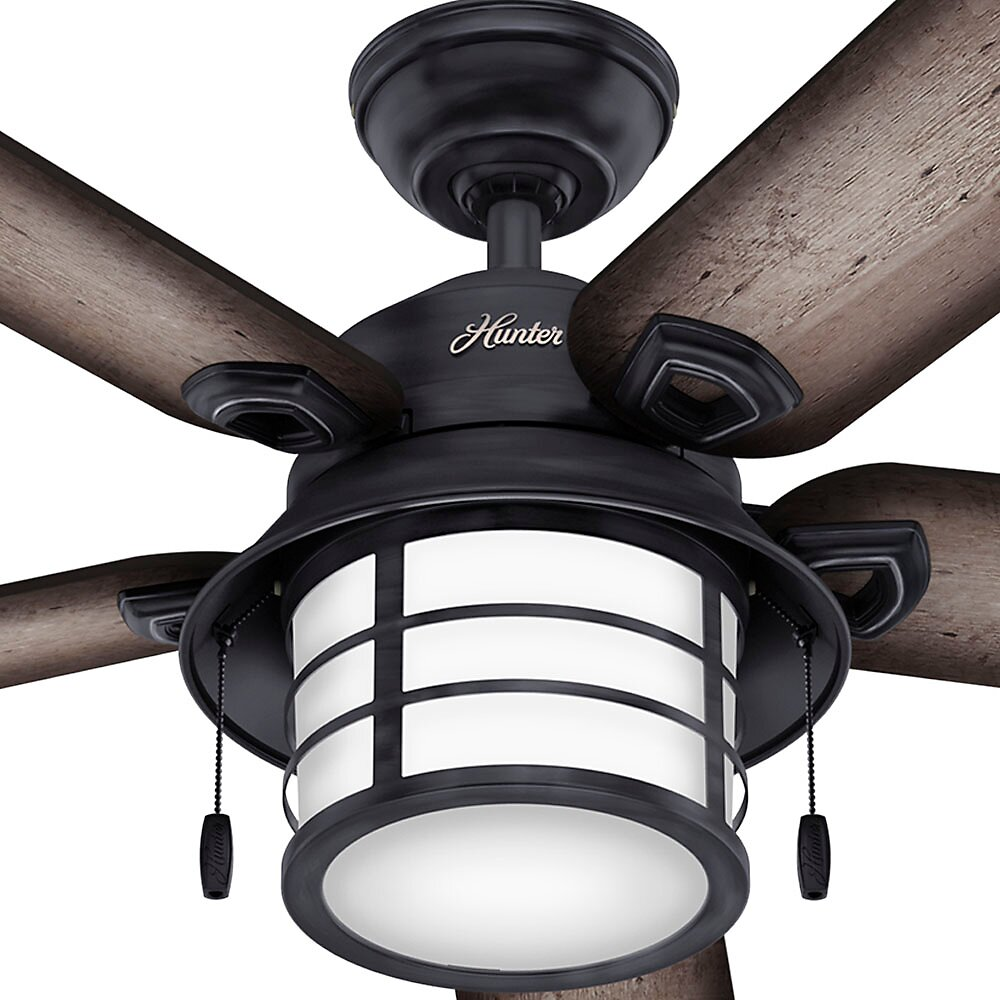 """Hunter Isleworth 54 Onyx Bengal Ceiling Fan With Light At: Hunter Fan 54"""" Key Biscayne 5 Blade Ceiling Fan & Reviews"""