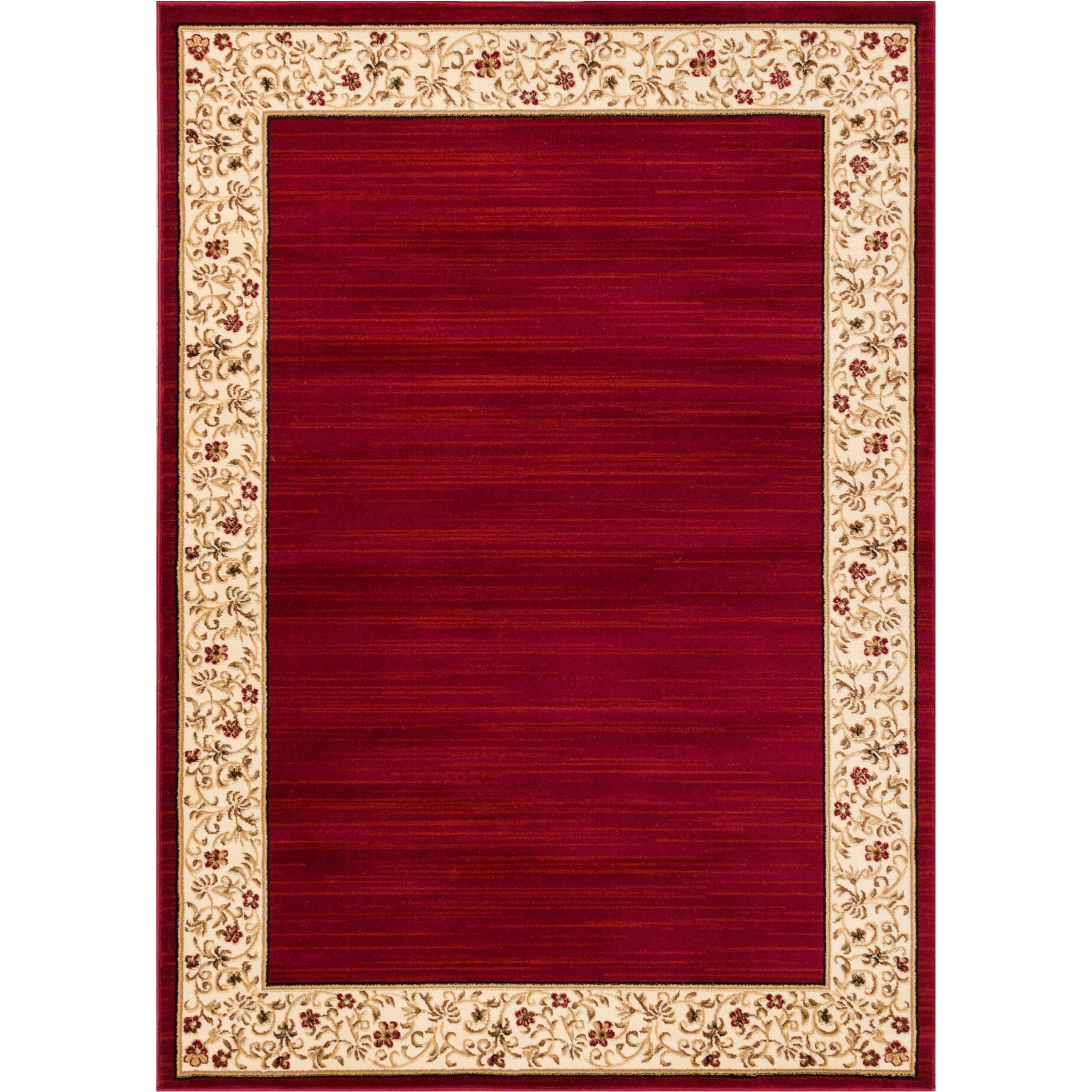 Well woven barclay terrazzo border red floral area rug for Red floral area rug
