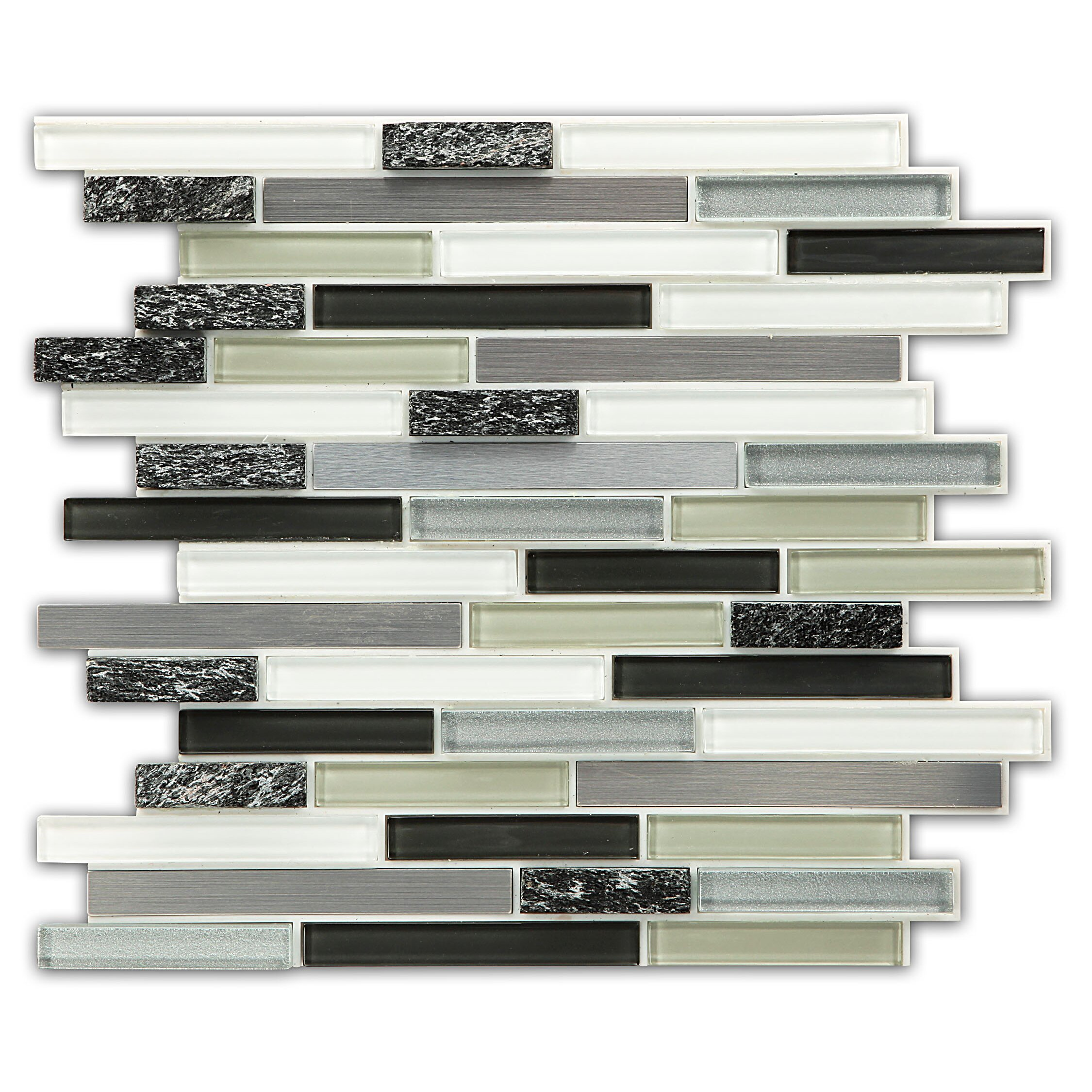 Instant mosaic glass natural stone metal peel stick for Peel and stick tile