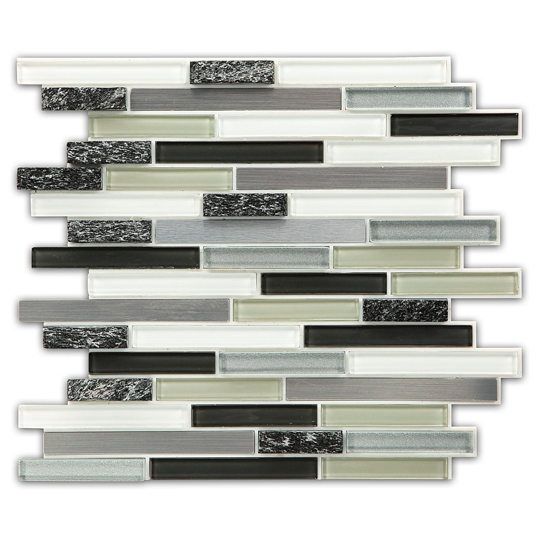 instant mosaic instant random sized peel stick mosaic tile in 3 color blend reviews wayfair. Black Bedroom Furniture Sets. Home Design Ideas