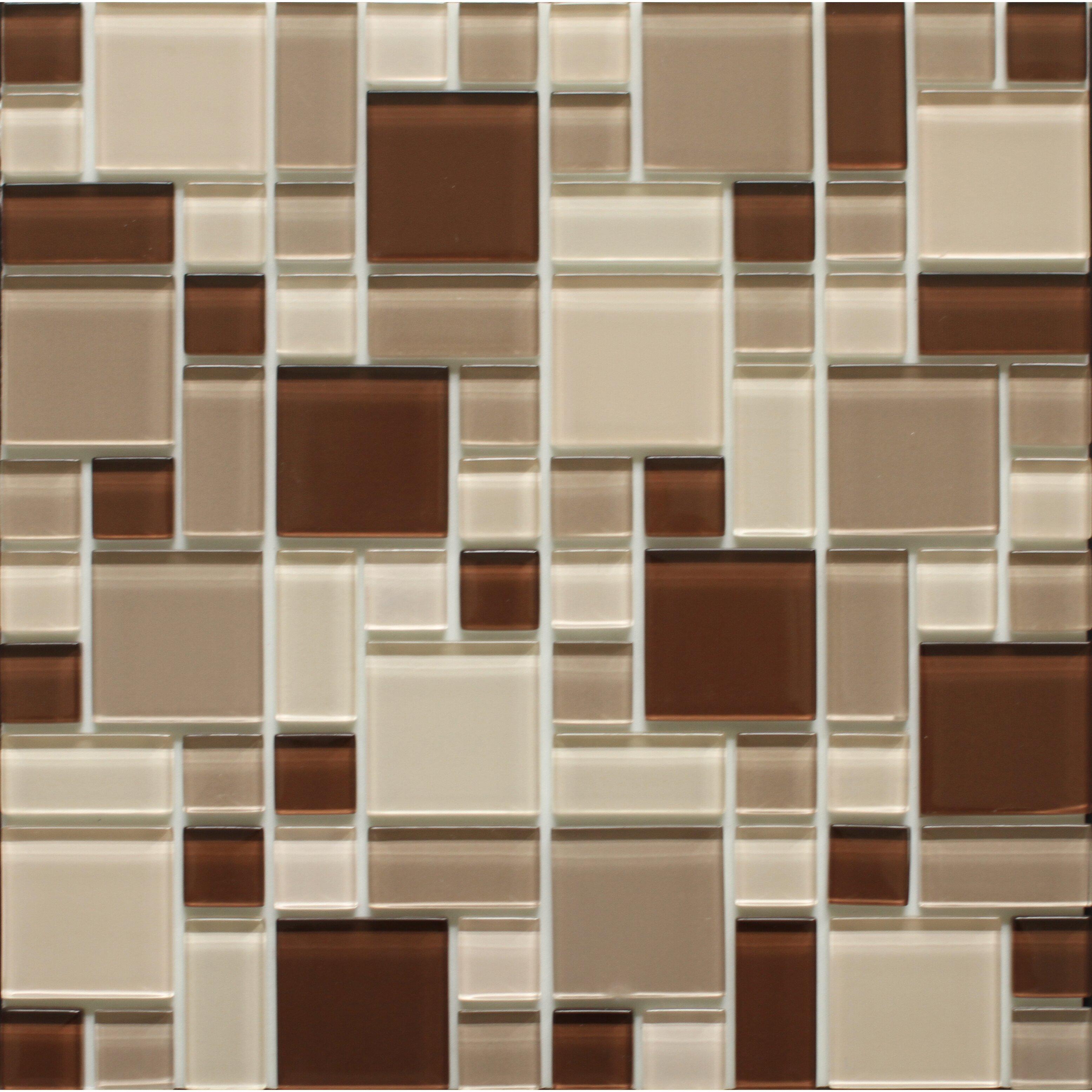 instant mosaic 12 39 39 x 12 39 39 glass peel stick mosaic tile in beige brown reviews wayfair. Black Bedroom Furniture Sets. Home Design Ideas