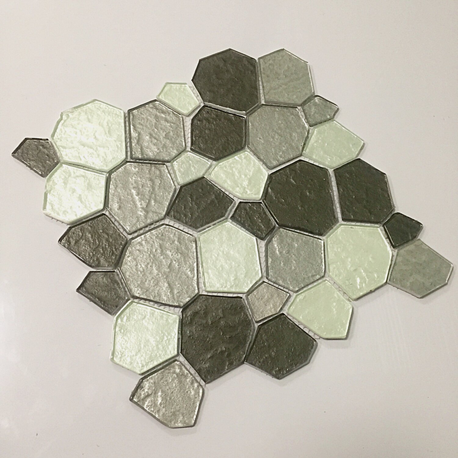 instant mosaic 12 x 12 glass peel stick mosaic tile in gray silver reviews wayfair. Black Bedroom Furniture Sets. Home Design Ideas