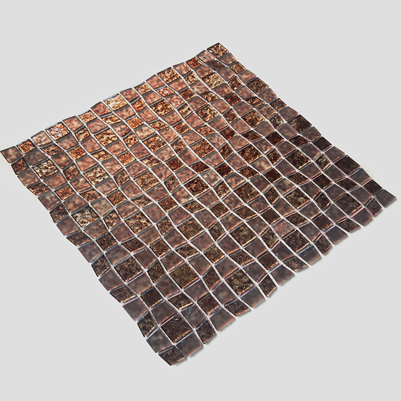 instant mosaic 12 x 12 glass peel stick mosaic tile in brown reviews wayfair. Black Bedroom Furniture Sets. Home Design Ideas