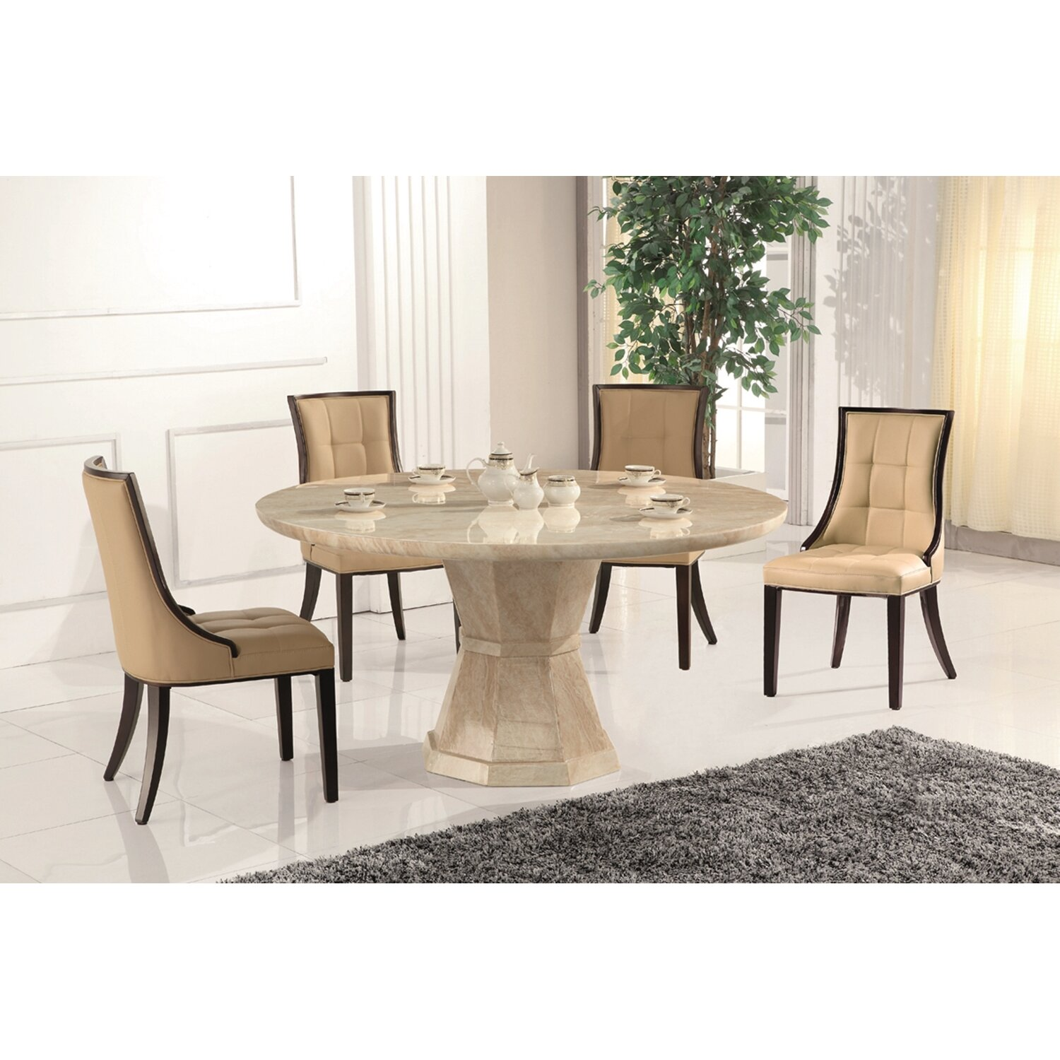 Homestead Living Rubberwood Upholstered Dining Chair