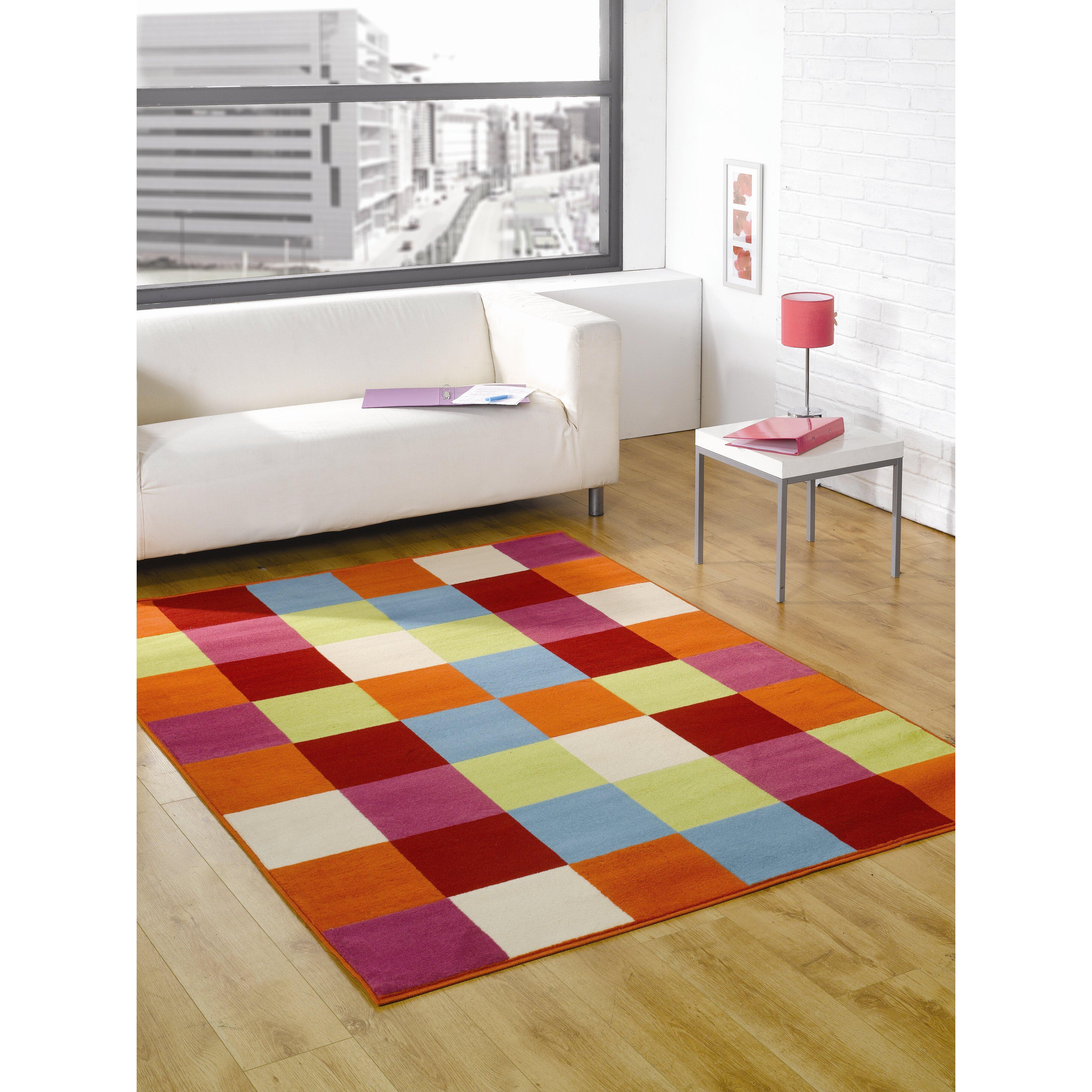 Funky Rainbow Colored Area Rugs: House Additions Retro Funky Multi-Coloured Area Rug