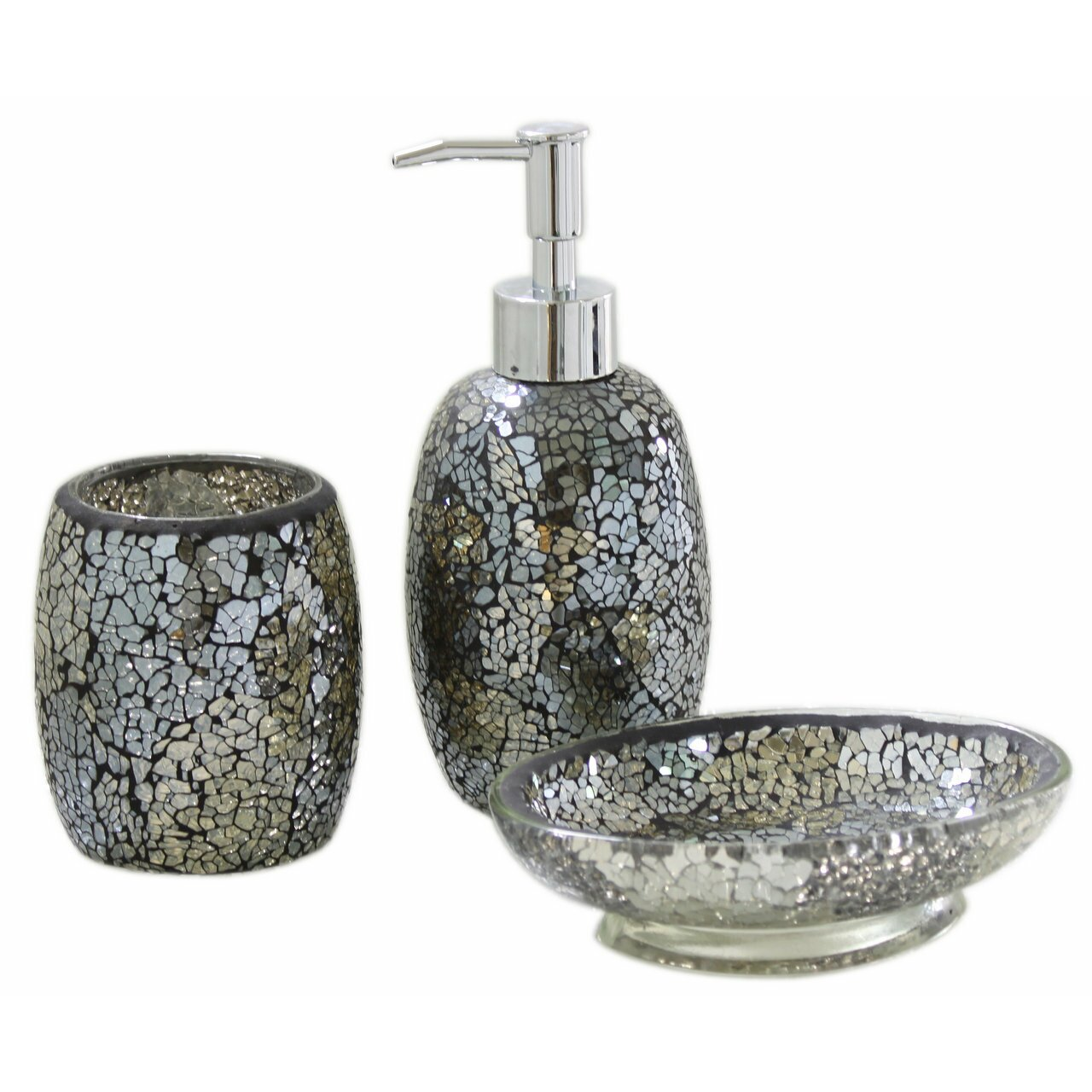 House additions mosaic bathroom accessory set reviews for Grey silver bathroom accessories