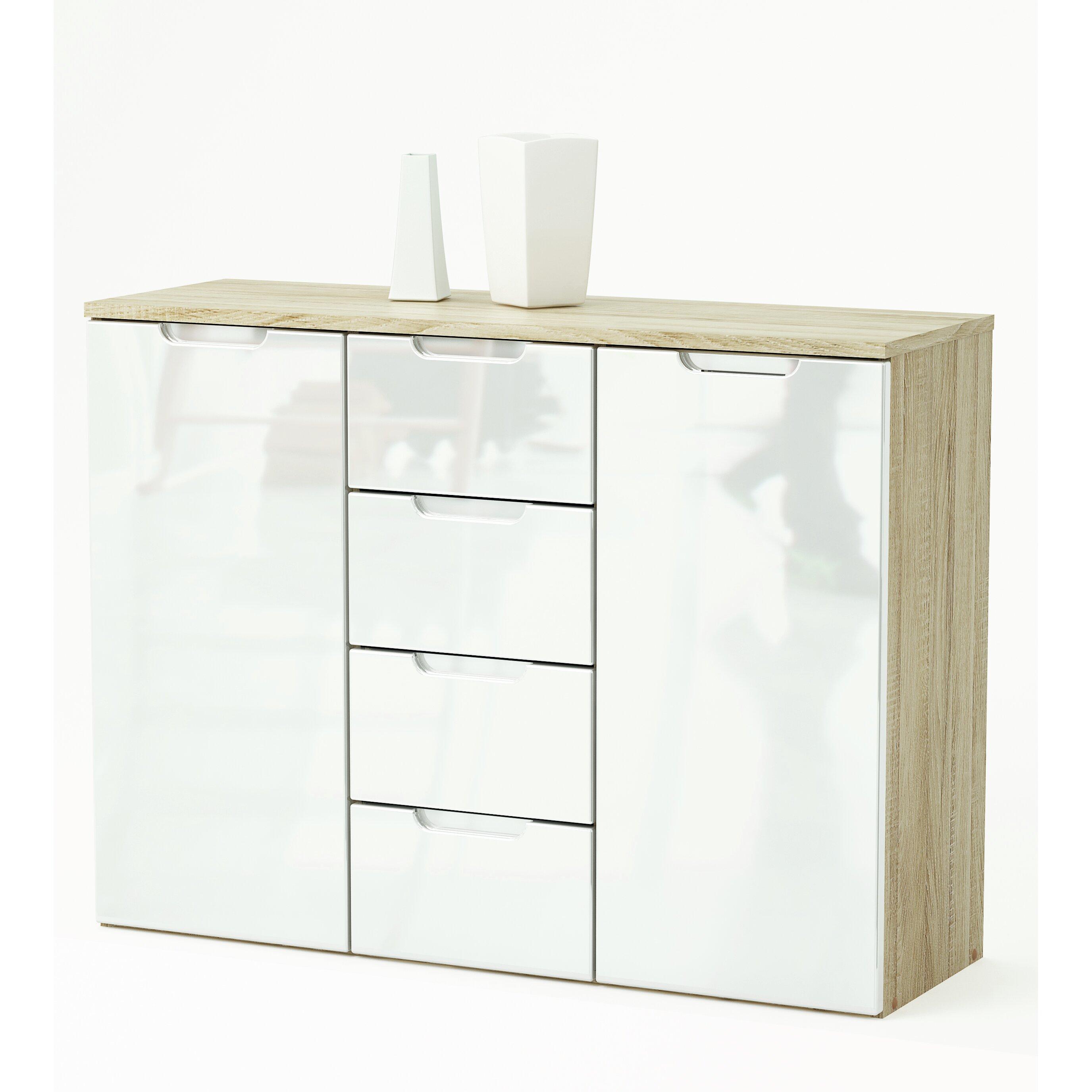 Home haus pelee 2 door 4 drawer sideboard reviews for Meuble salle de bain conforama