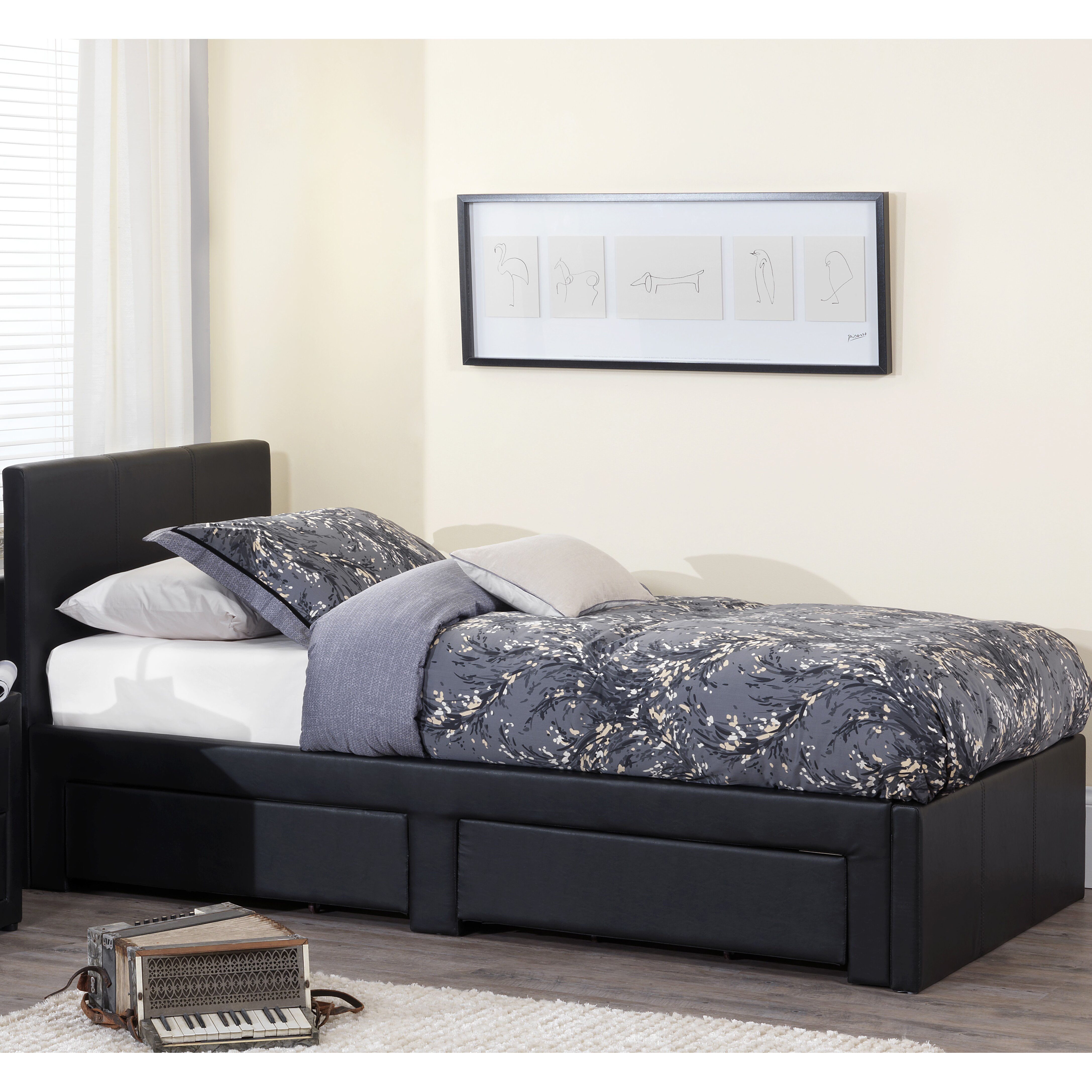 Home Haus Surat Single Upholstered Storage Bed Reviews